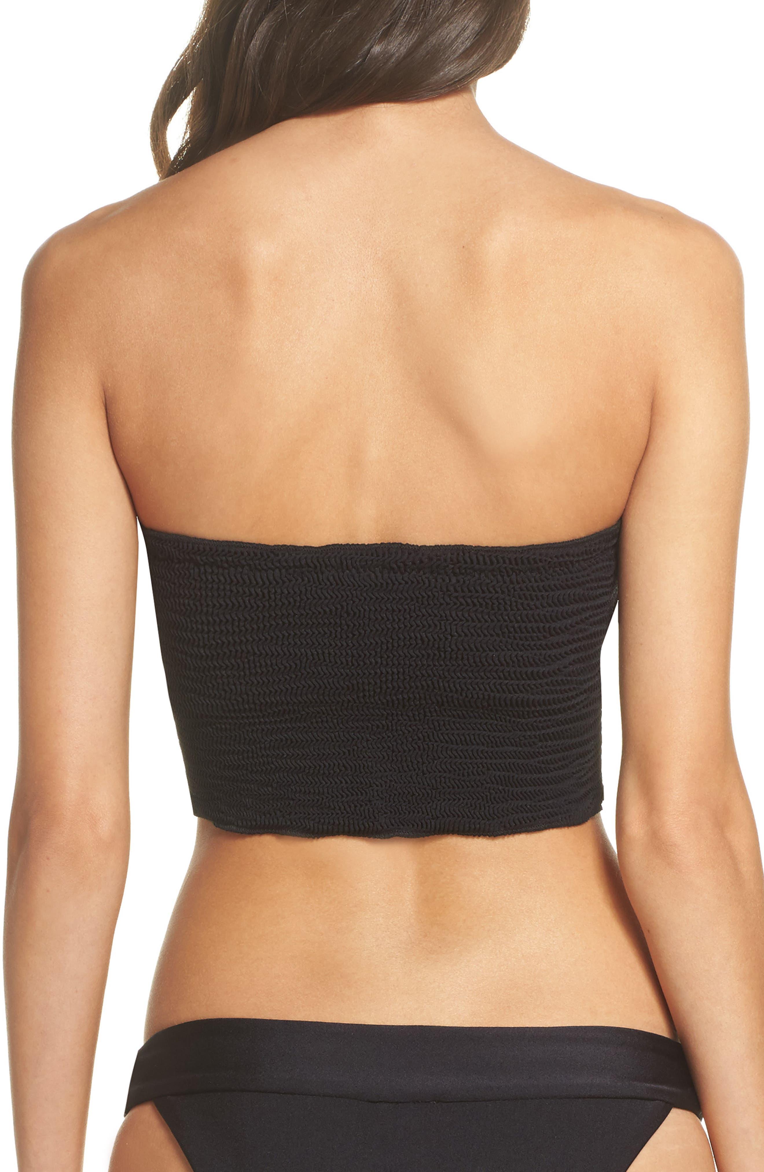Tubular Bikini Top,                             Alternate thumbnail 2, color,                             Black