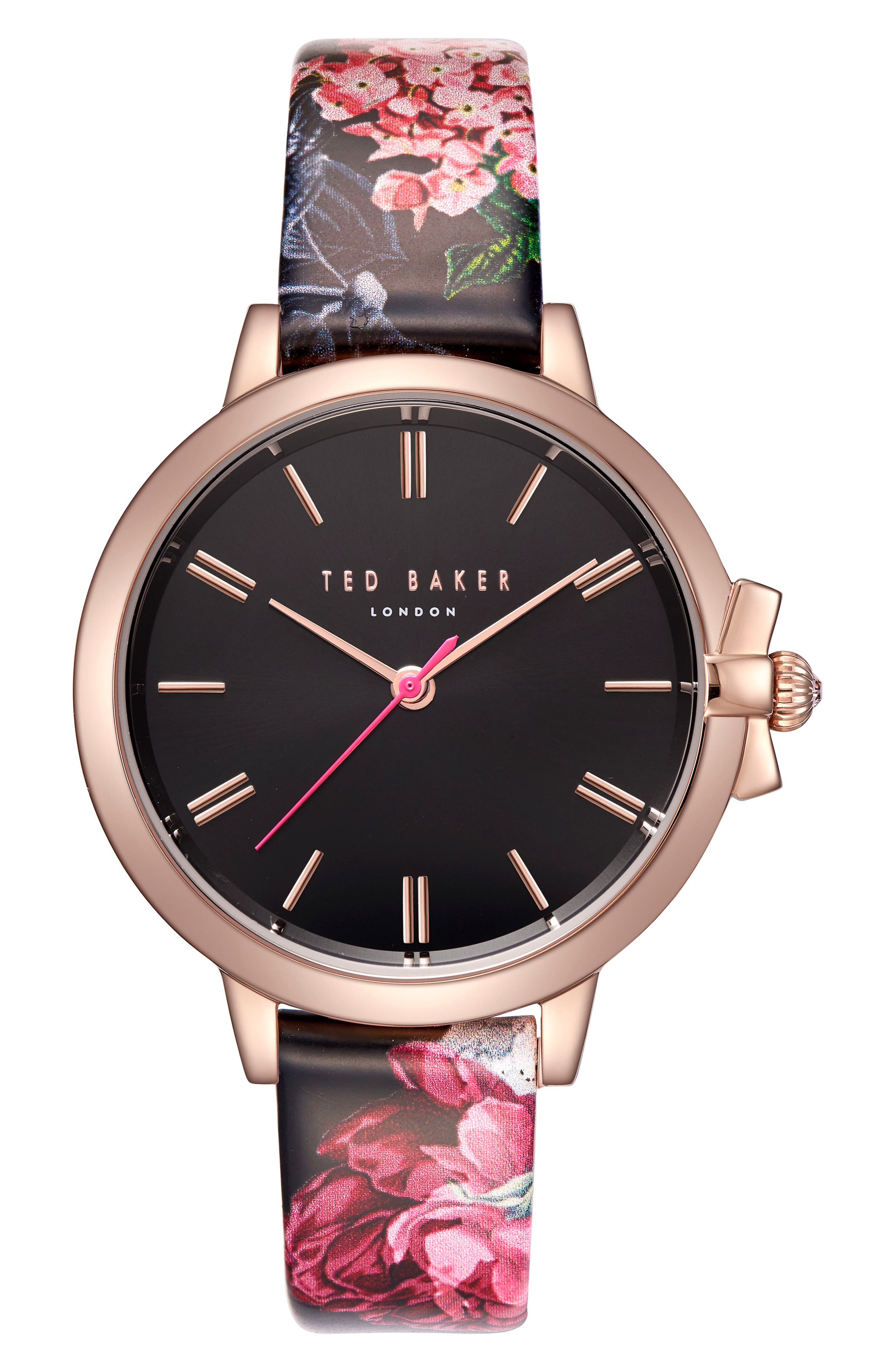 Leather Strap Watch, 36mm,                             Main thumbnail 1, color,                             Printed/ Black/ Rose Gold