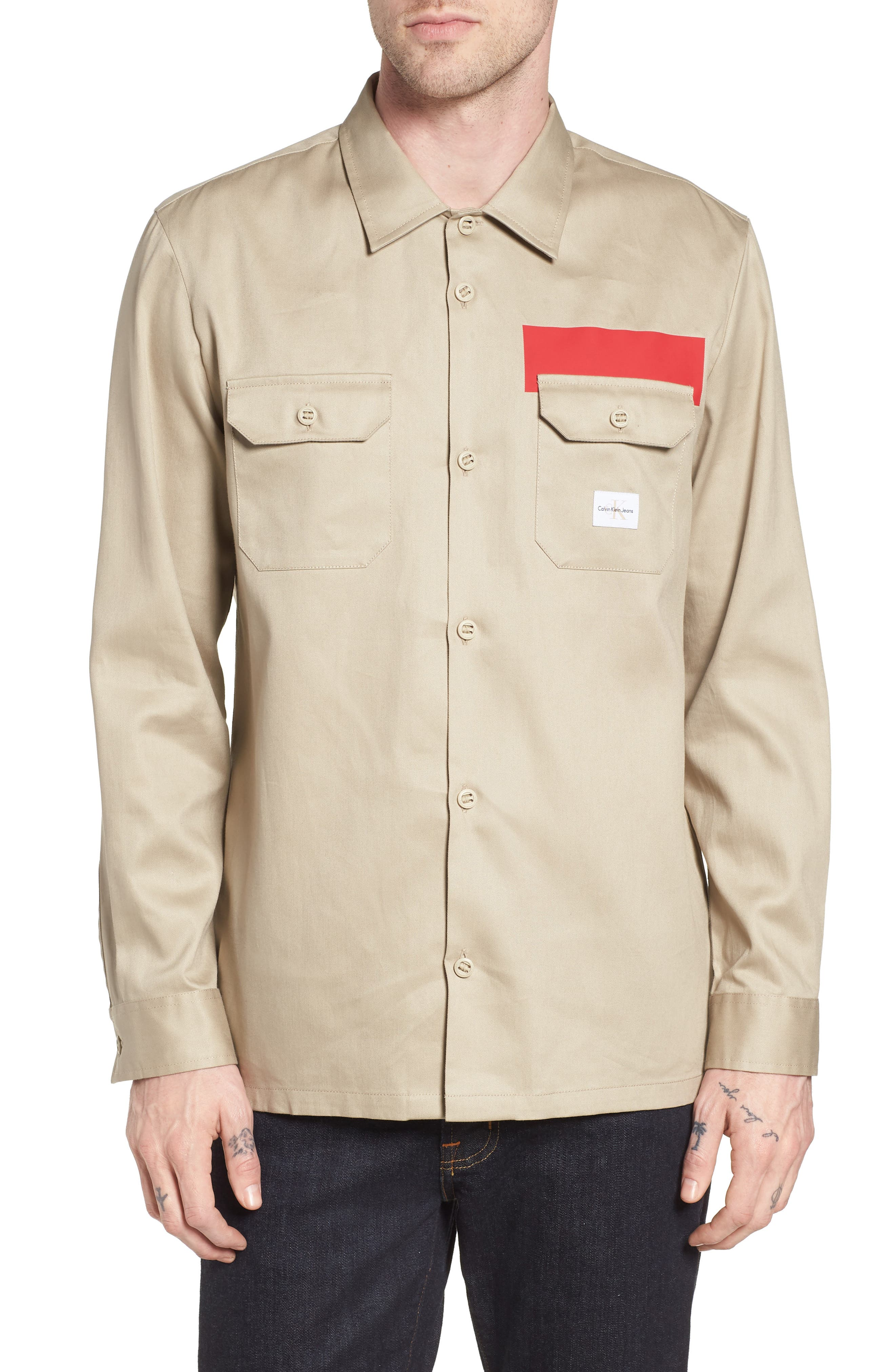 Placement Stripe Utility Shirt,                             Main thumbnail 1, color,                             Marble Canyon