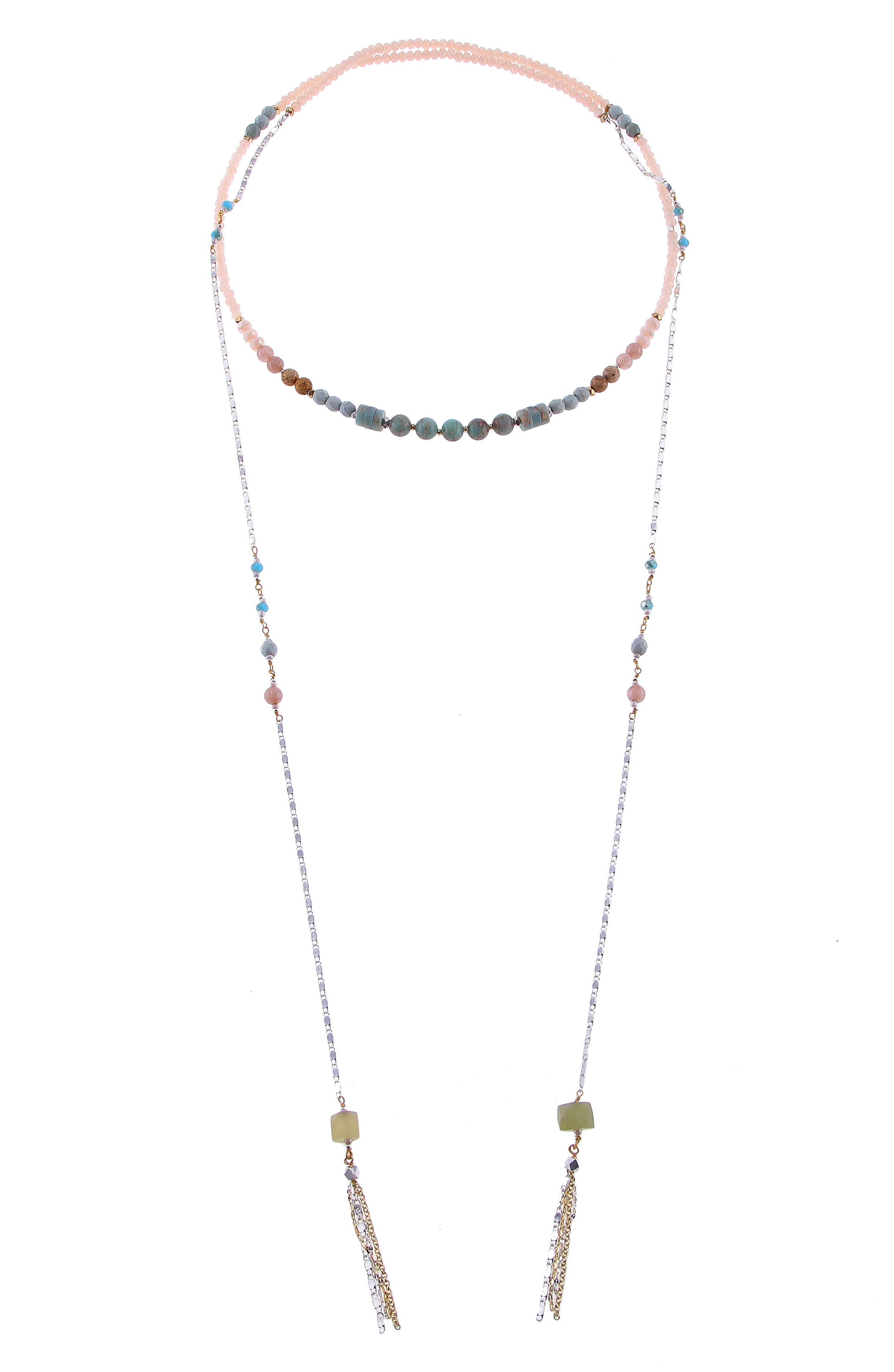 Amazonite, Agate & Crystal Lariat Necklace,                             Main thumbnail 1, color,                             Aqua