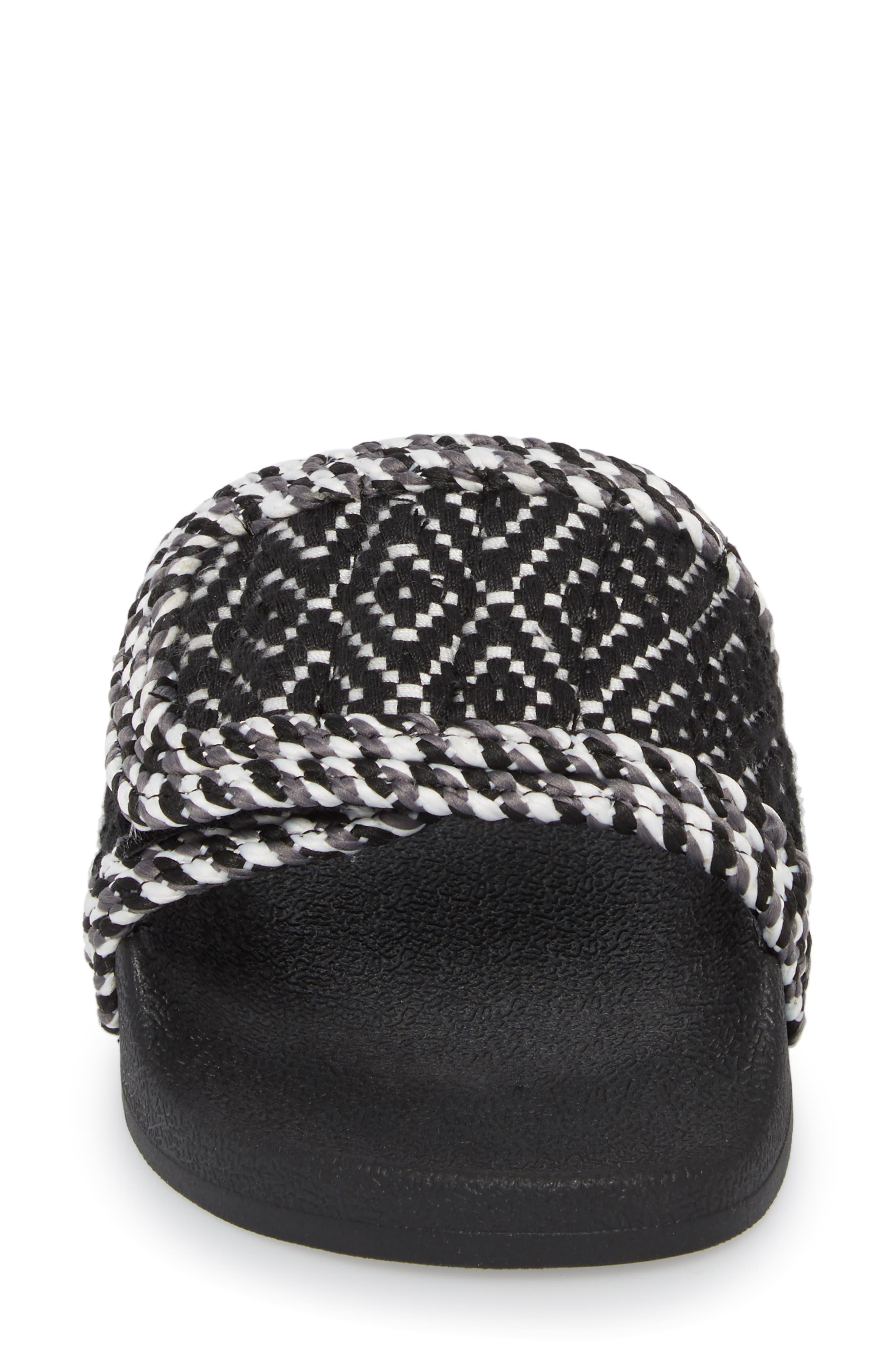 Tressa Woven Slide Sandal,                             Alternate thumbnail 4, color,                             Black/ White Woven Fabric