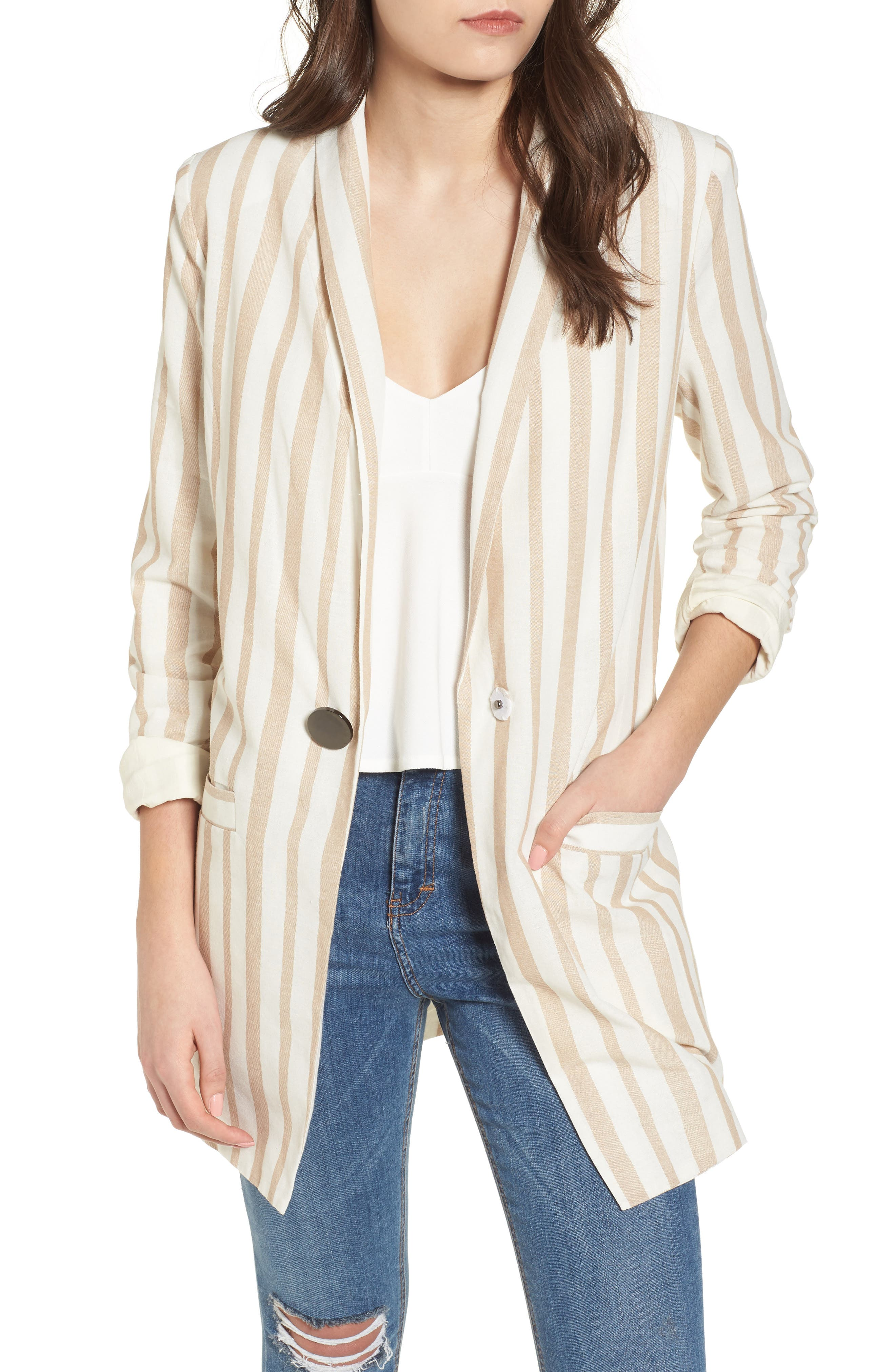 Chriselle x J.O.A. Boyfriend Blazer,                         Main,                         color, Sand Stripe