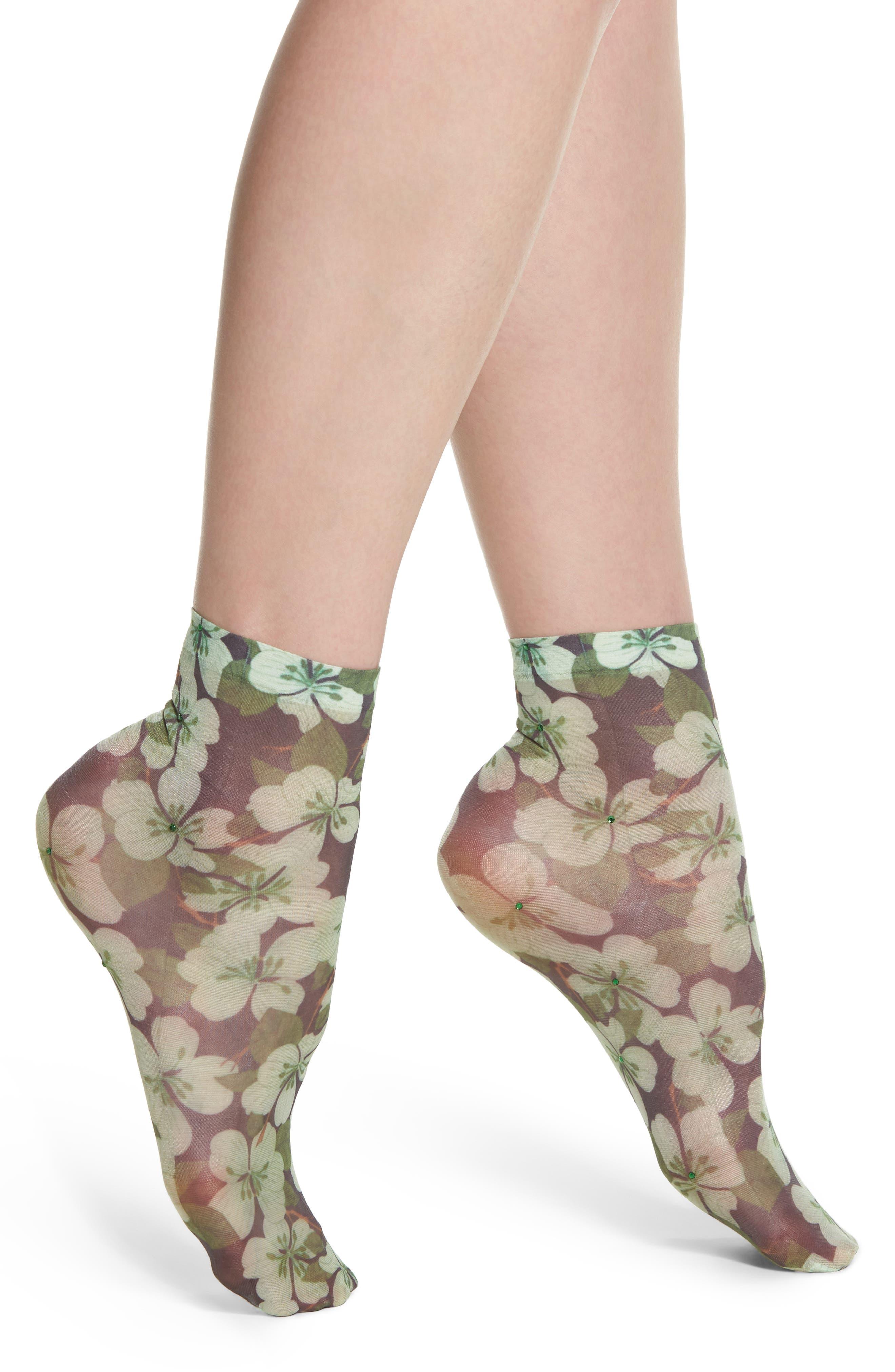 Annavittoria Ankle Socks,                             Main thumbnail 1, color,                             Fiore Strass