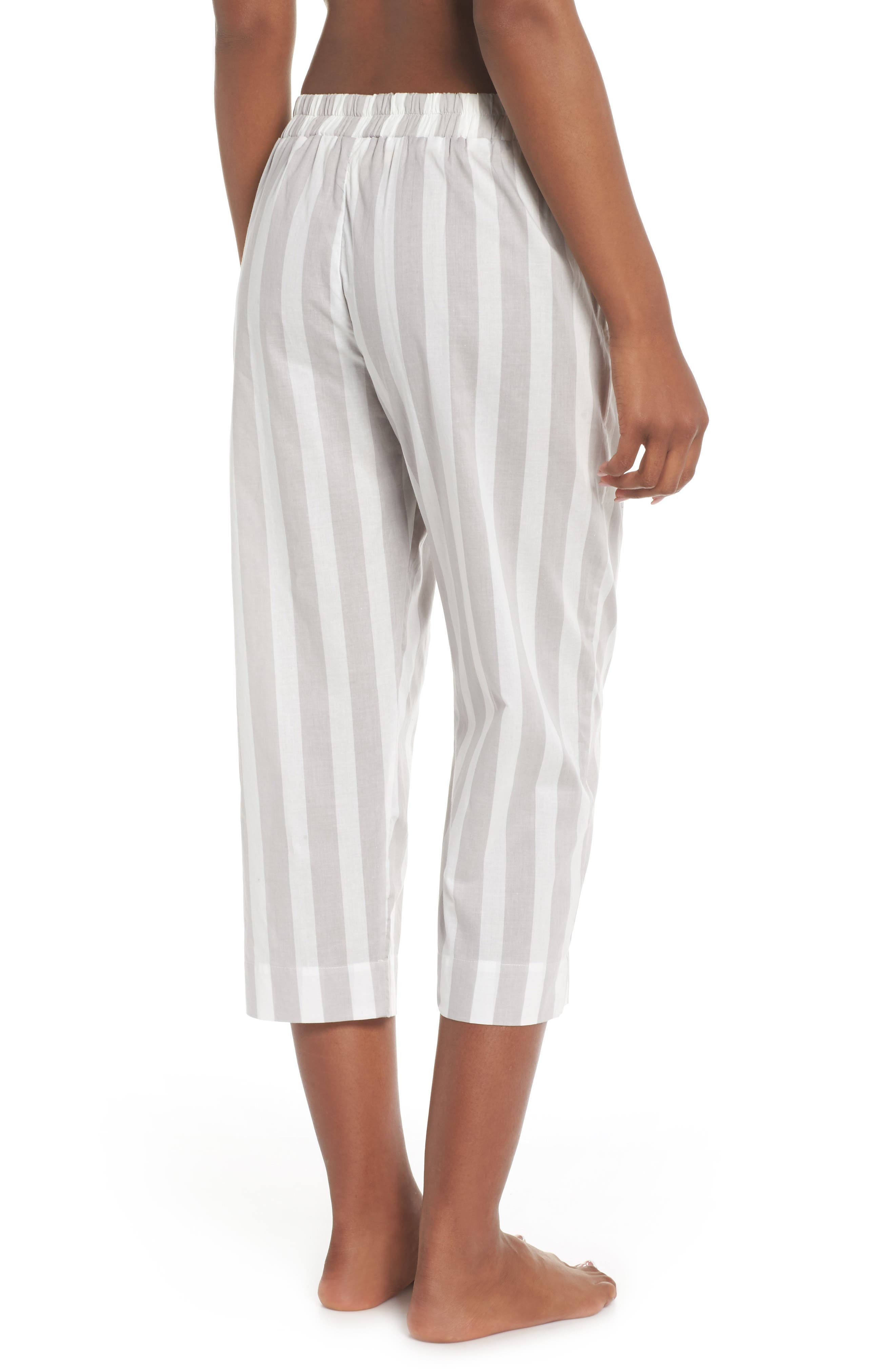 Capri Pajama Pants,                             Alternate thumbnail 2, color,                             Grey Stripe