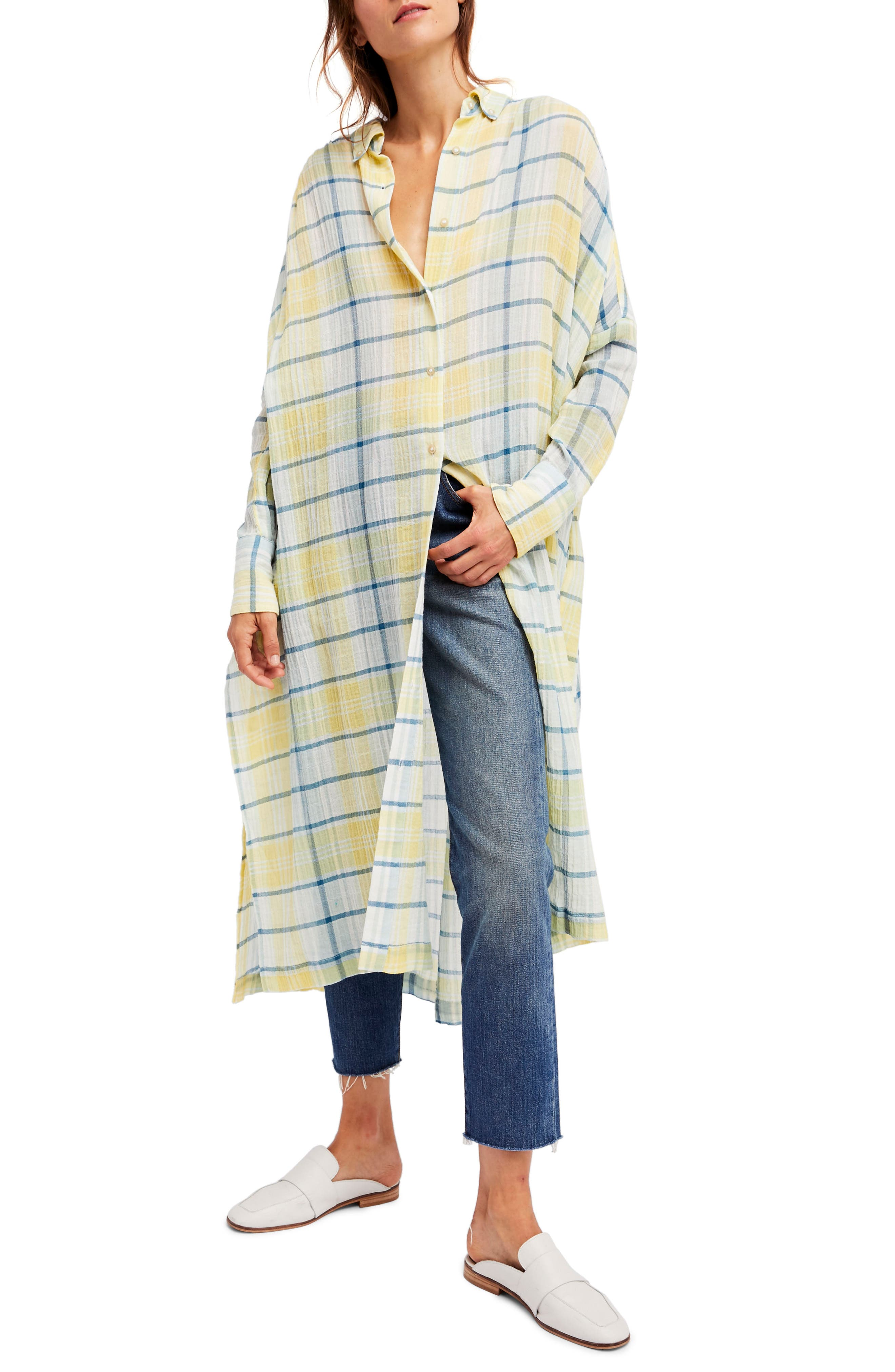 Main Image - Free People By My Side Button-Down Duster