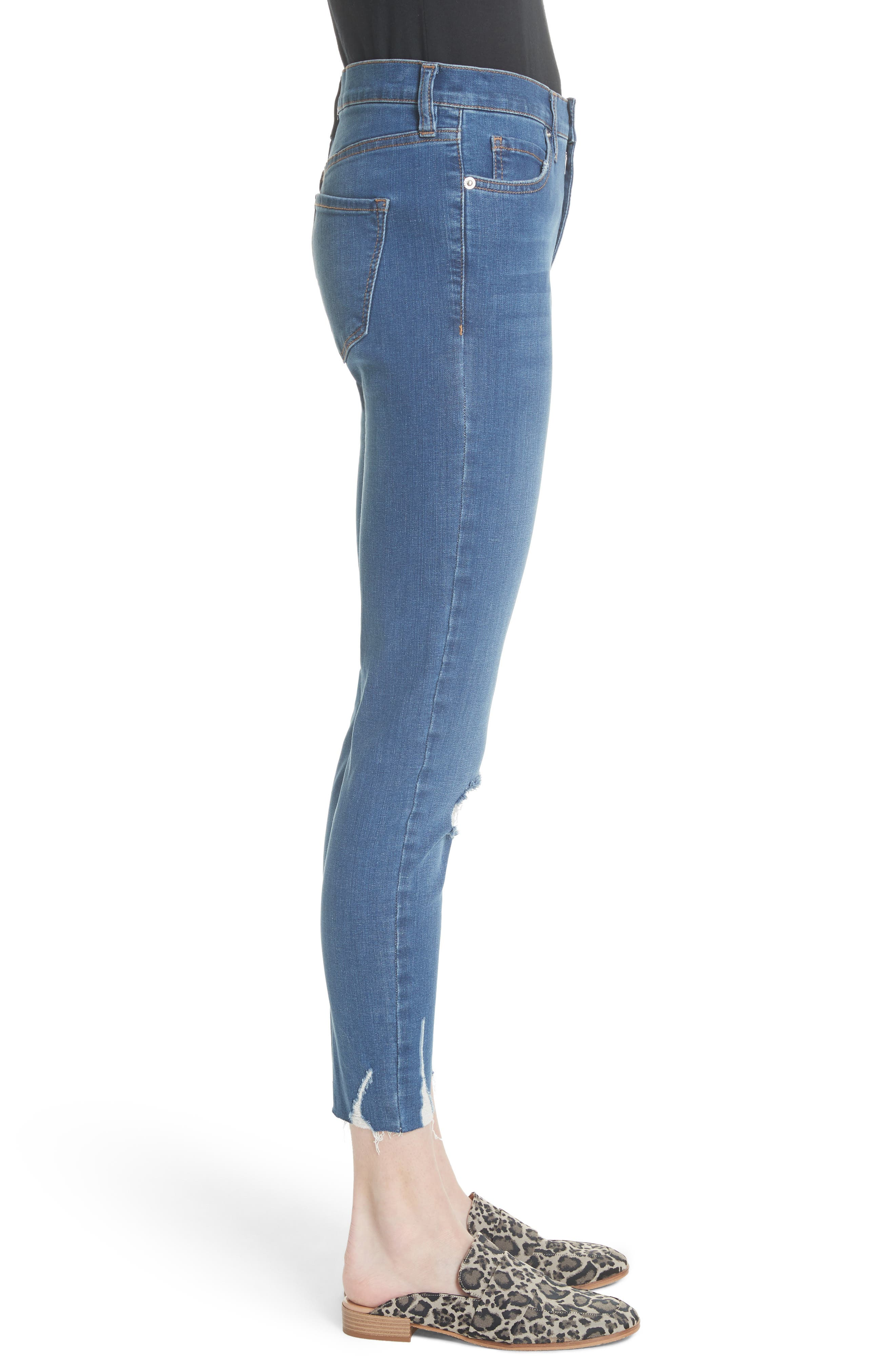 Ripped Crop Skinny Jeans,                             Alternate thumbnail 3, color,                             Blue