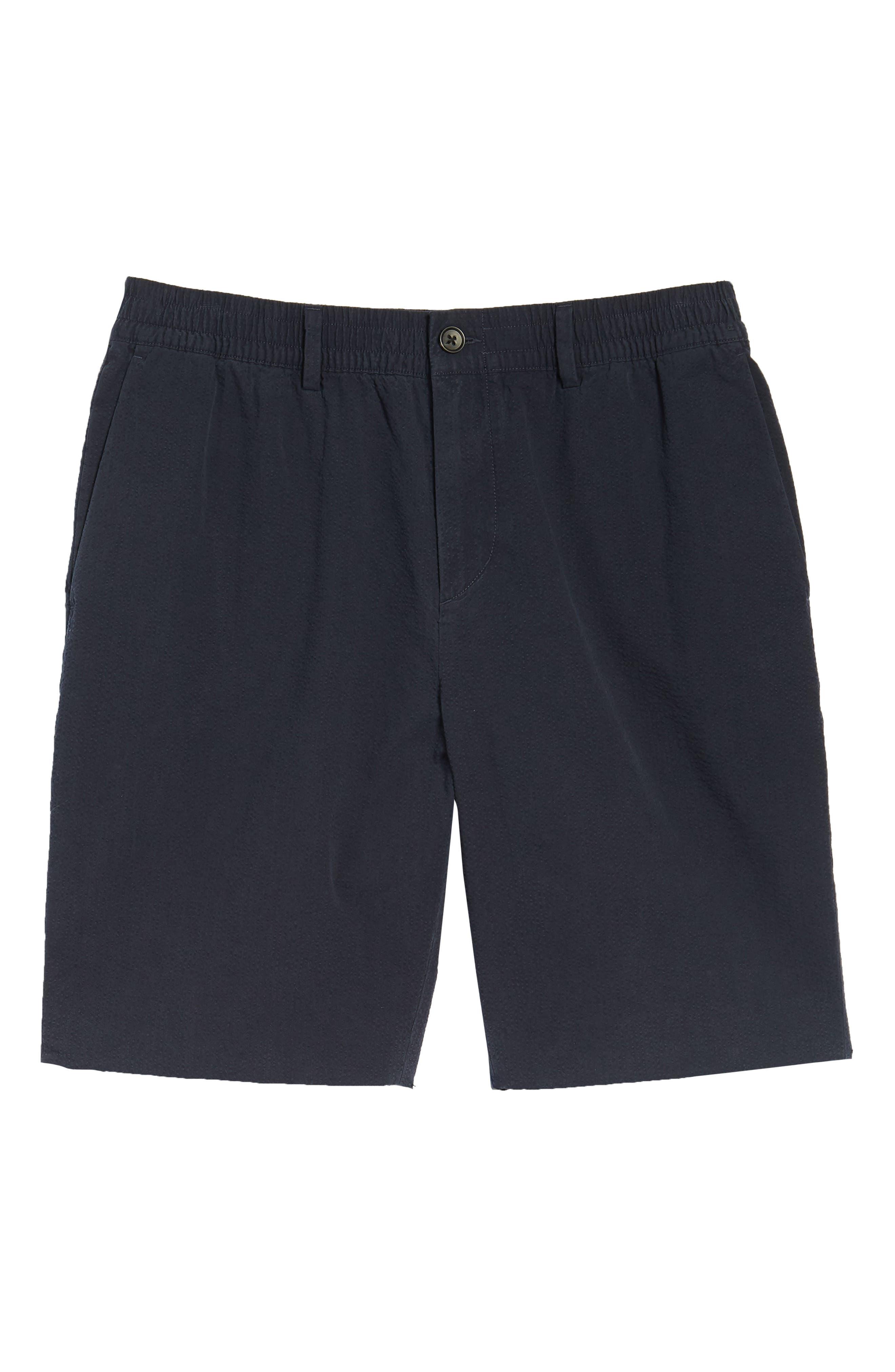 Elastic Waist Seersucker Shorts,                             Alternate thumbnail 6, color,                             Navy Night Seersucker