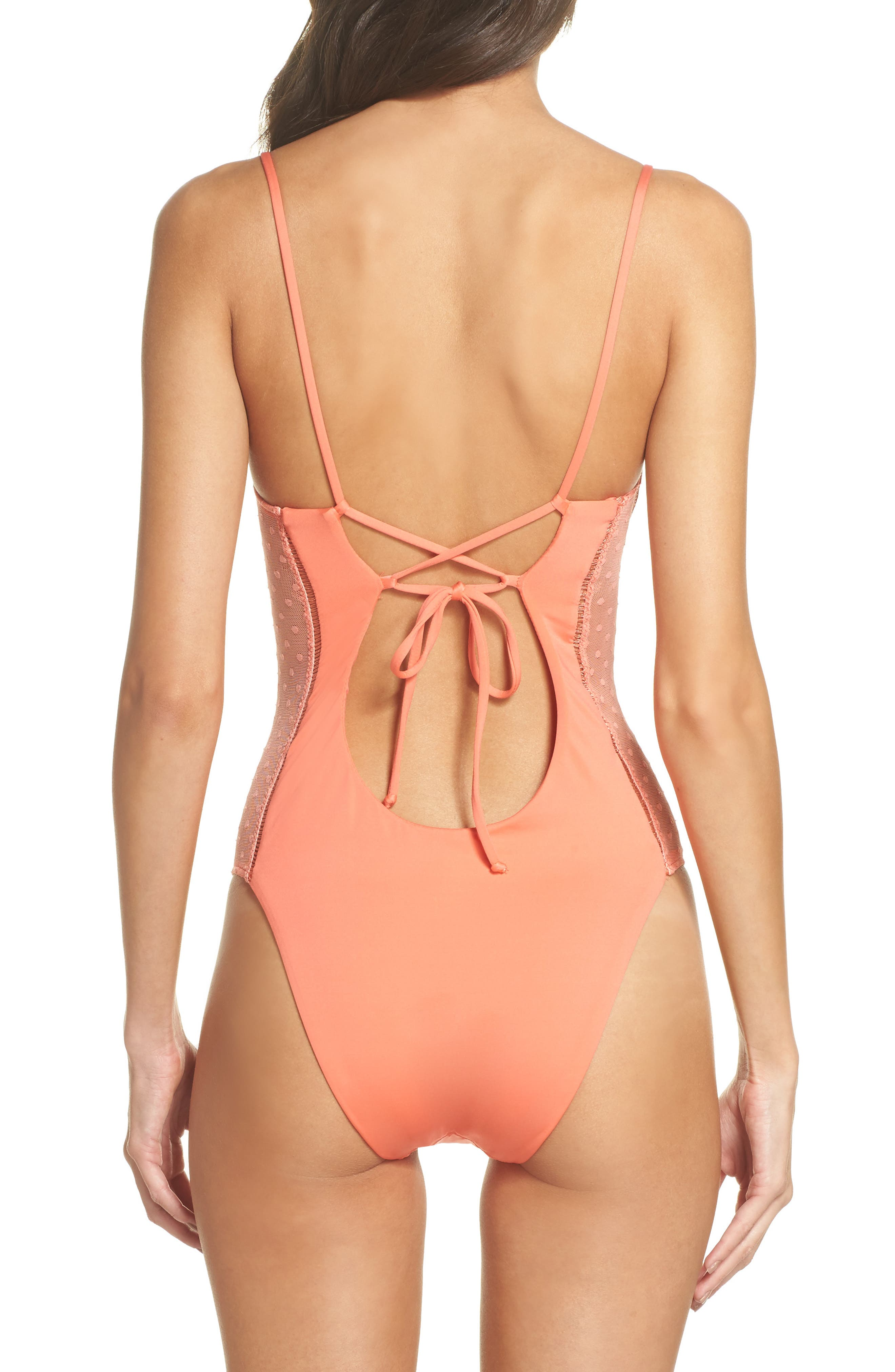 Swiss Miss One-Piece Swimsuit,                             Alternate thumbnail 2, color,                             Persimmon
