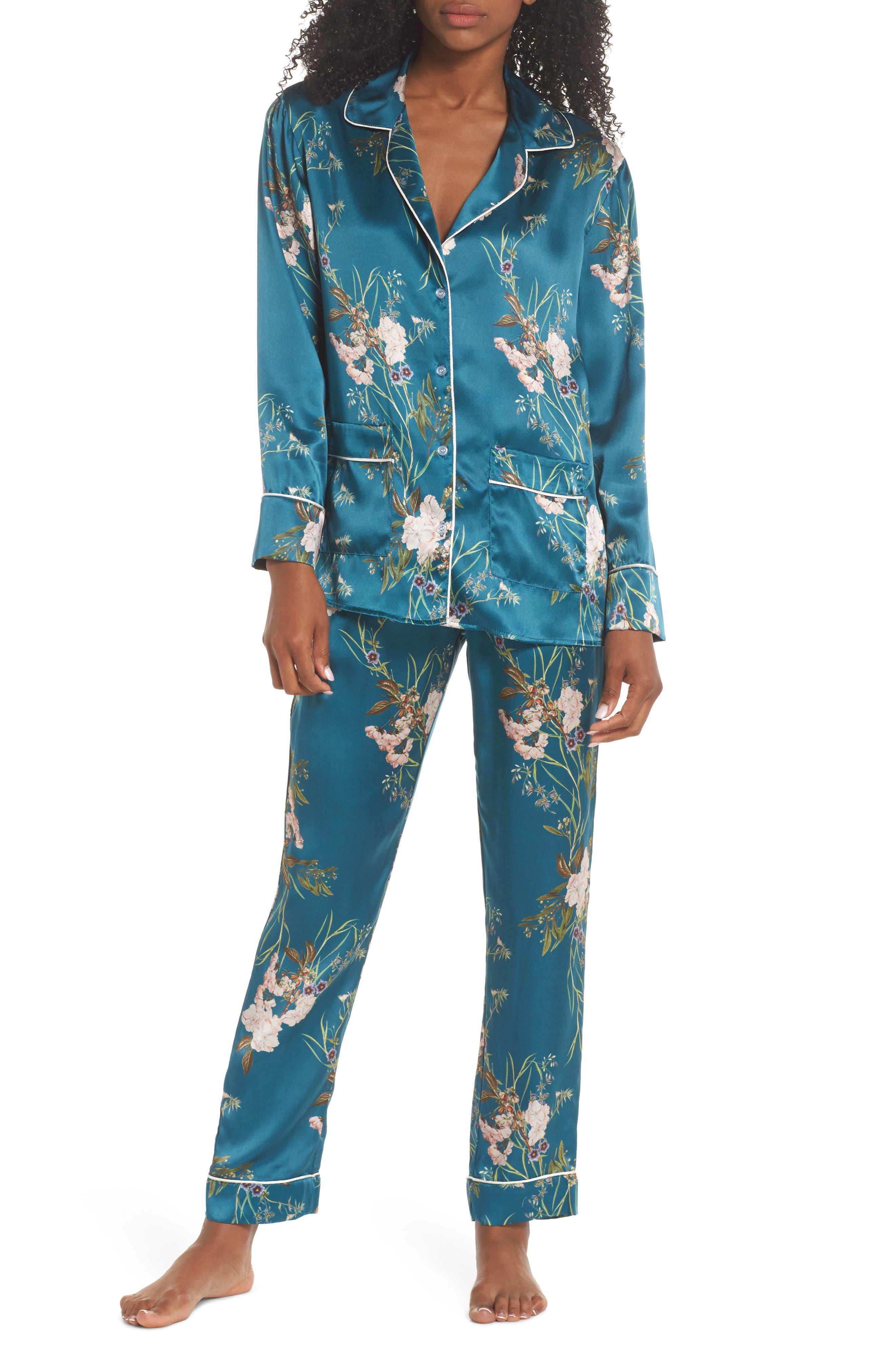 Alexandra Silk Pajama Pants,                             Alternate thumbnail 5, color,                             Teal Floral