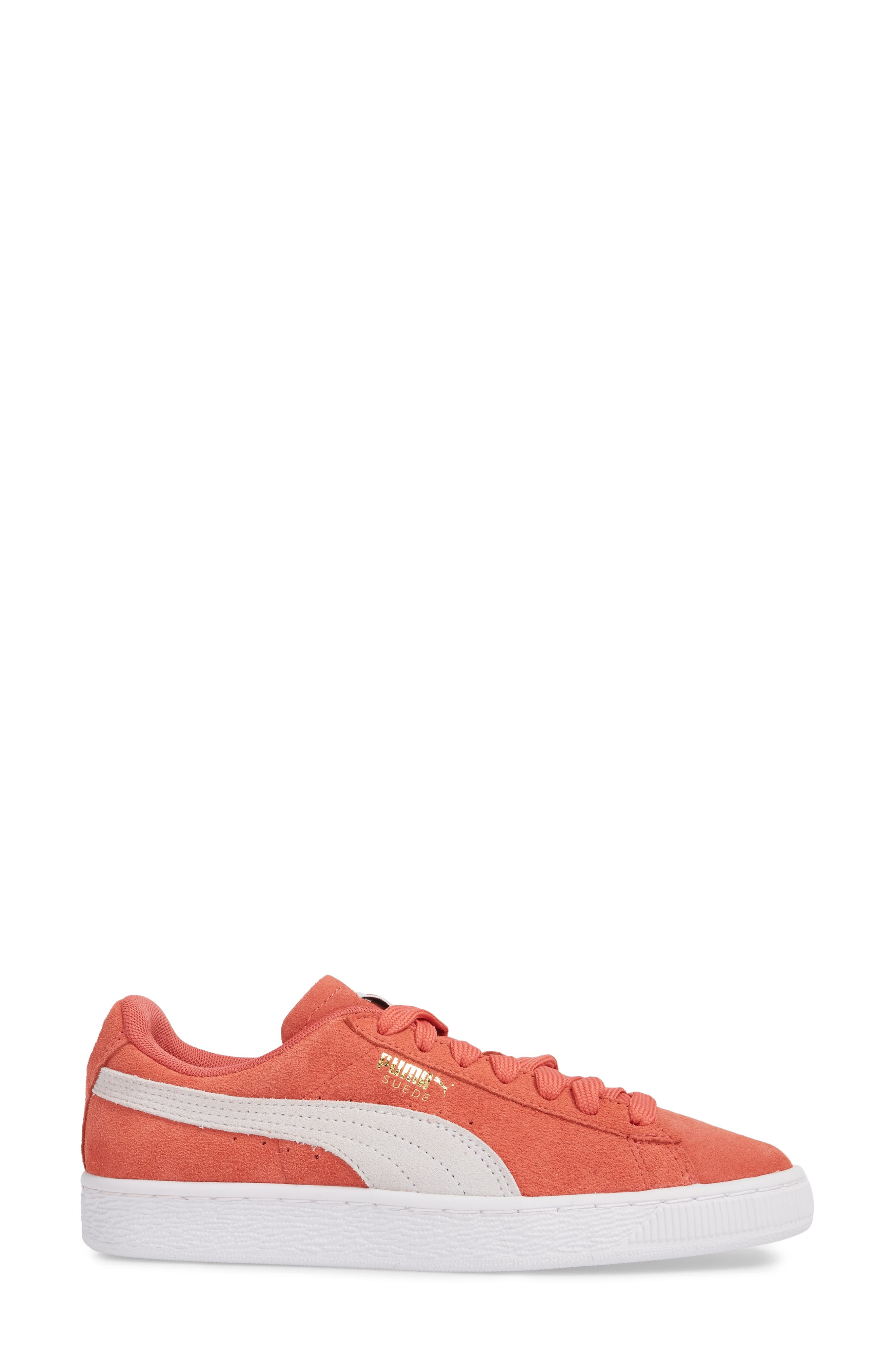 Suede Sneaker,                             Alternate thumbnail 2, color,                             Spiced Coral/ Puma White