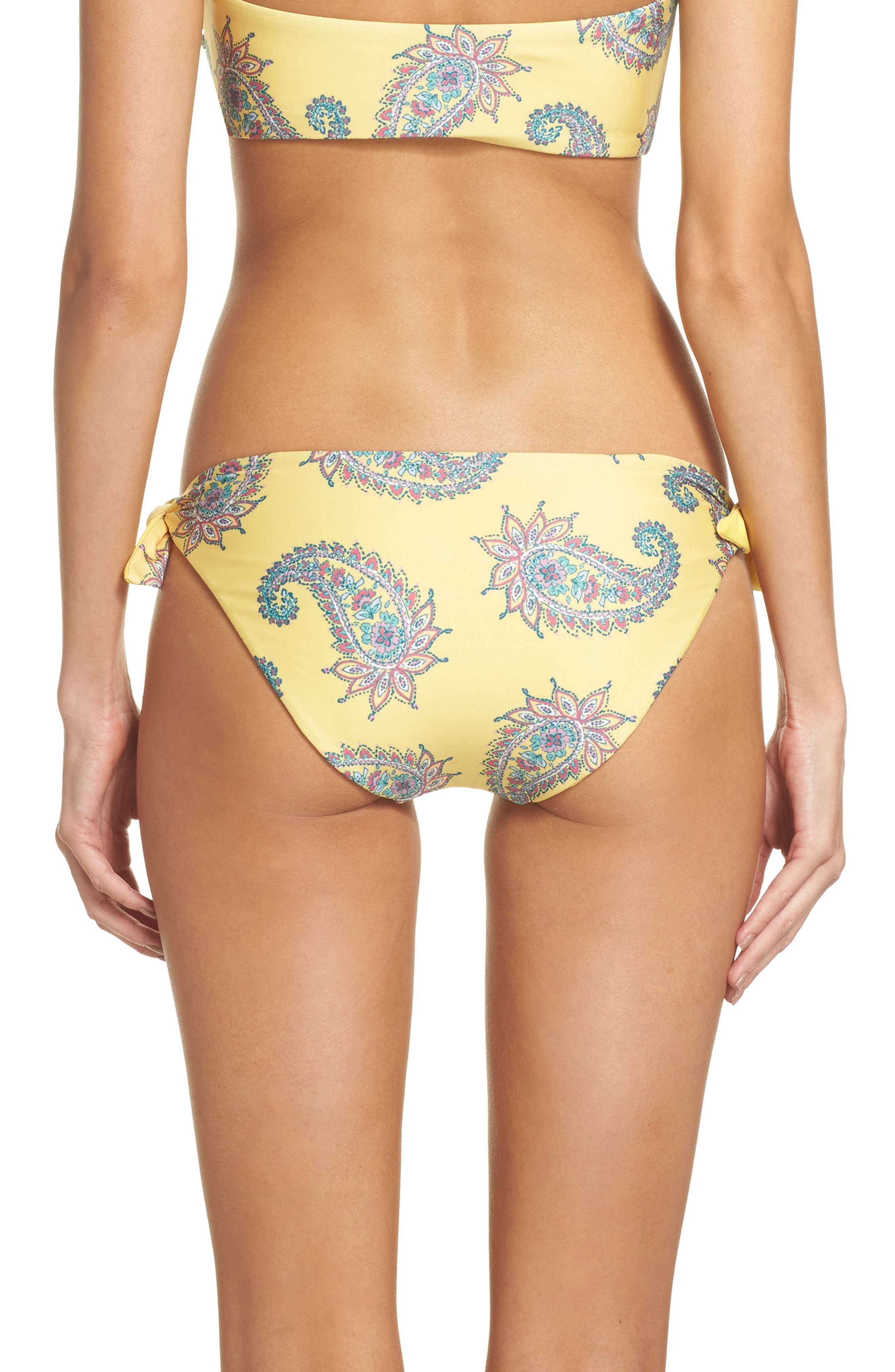 Little Havana Scarf Tie Bikini Bottoms,                             Alternate thumbnail 2, color,                             Yellow Multi