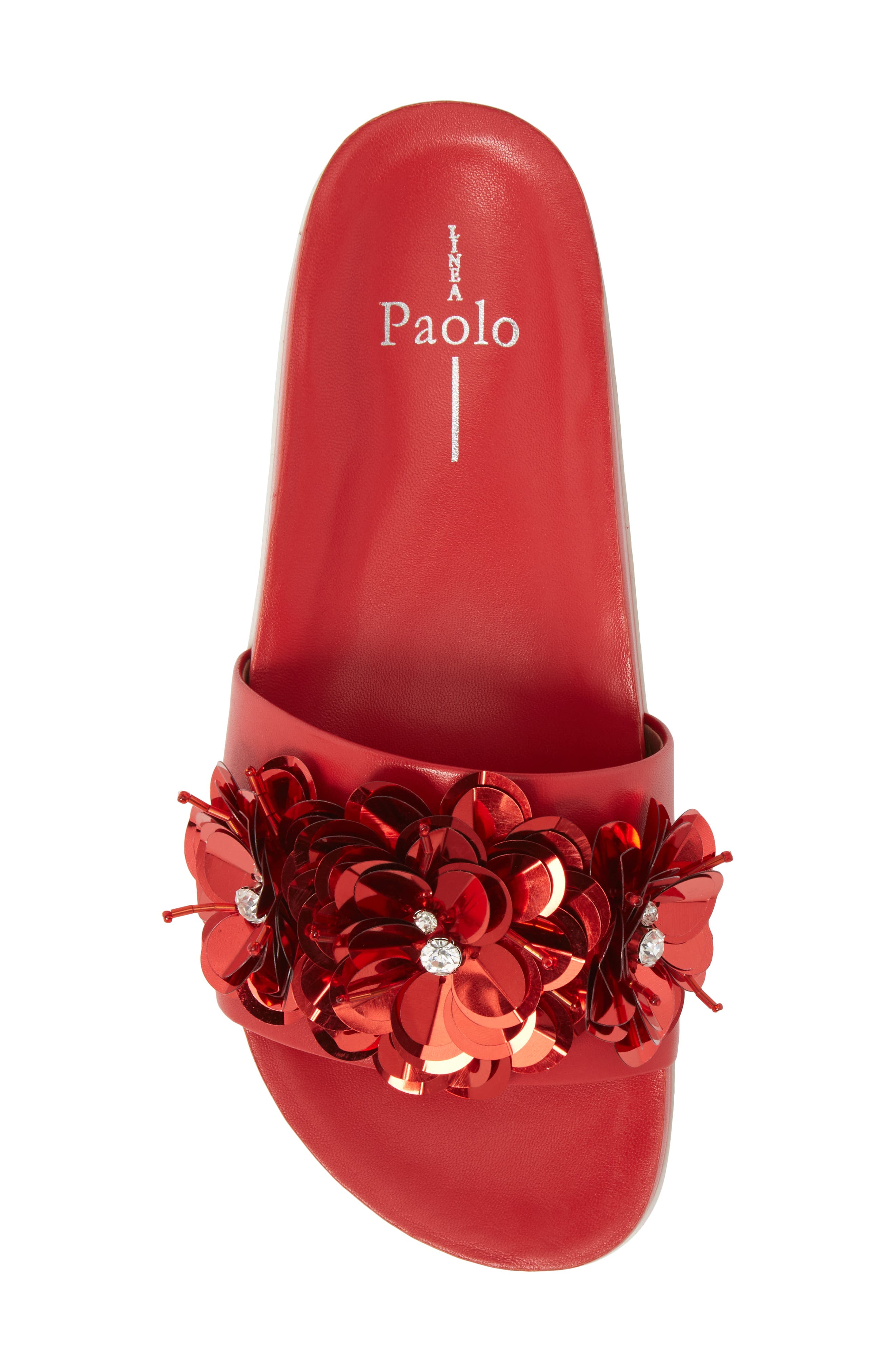 Lotus Embellished Flower Sandal Slide,                             Alternate thumbnail 5, color,                             Red Fabric