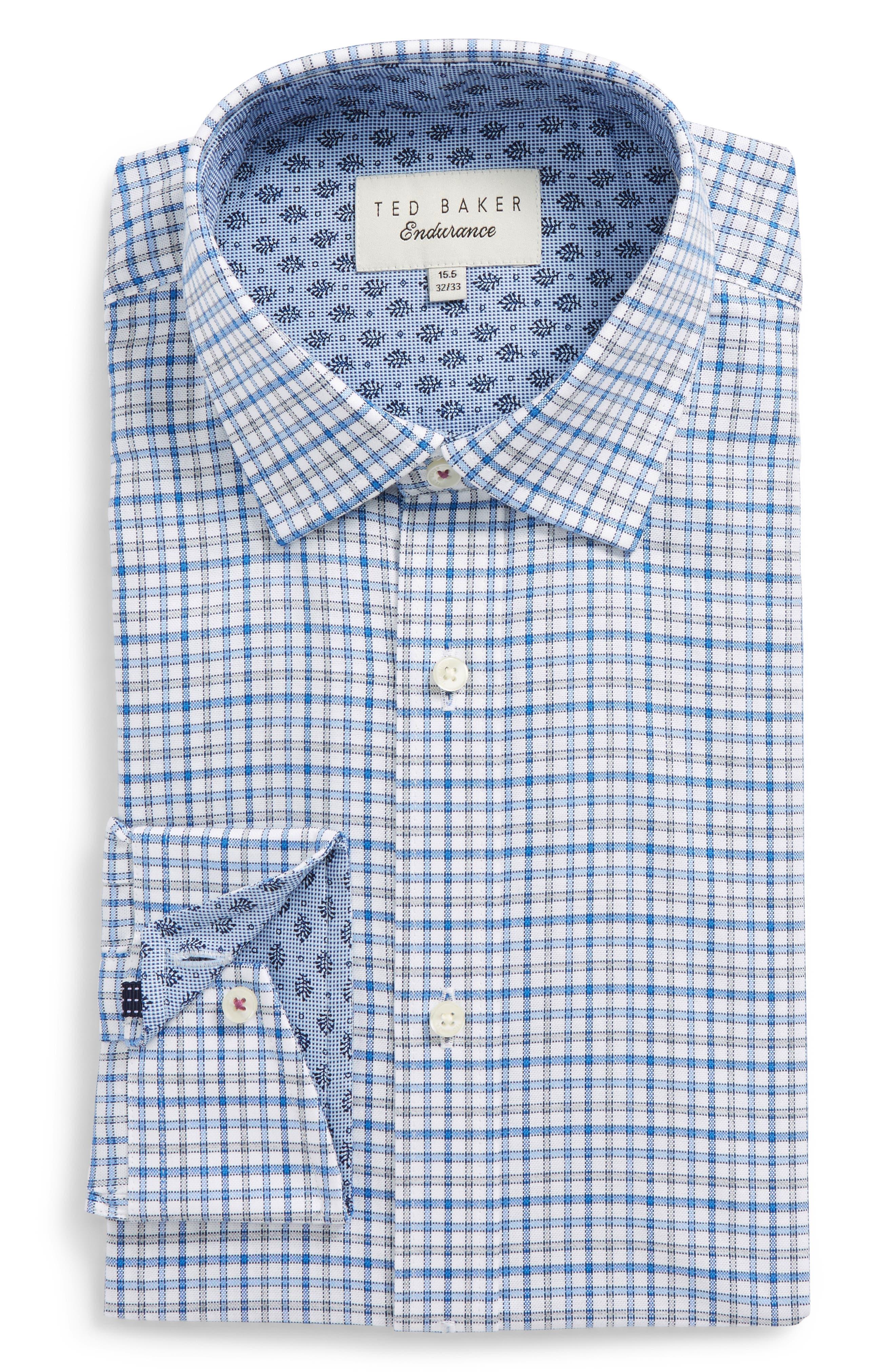 Welsh Trim Fit Check Dress Shirt,                         Main,                         color, Blue