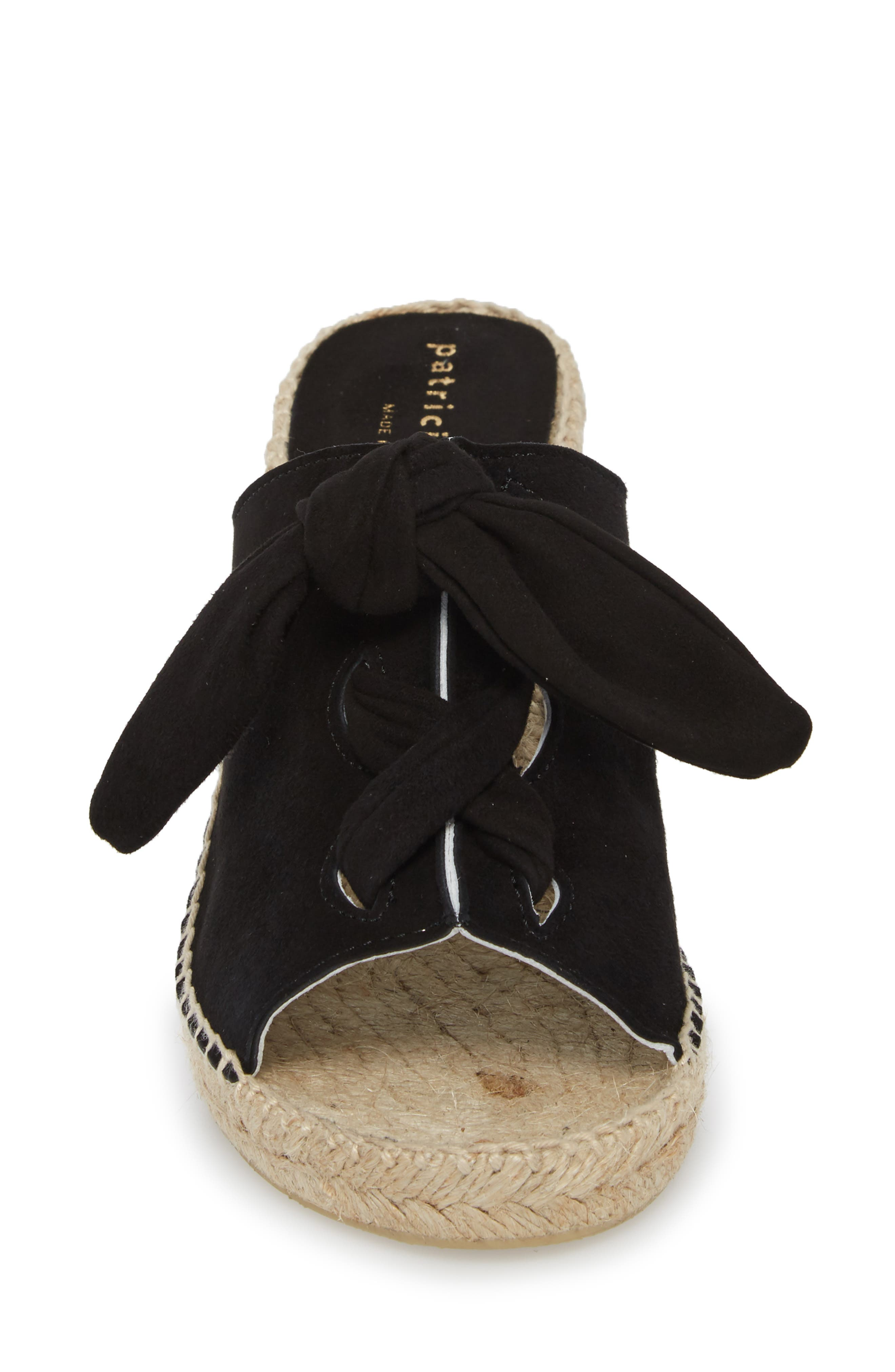 Flirt Espadrille Wedge Sandal,                             Alternate thumbnail 4, color,                             Black Suede