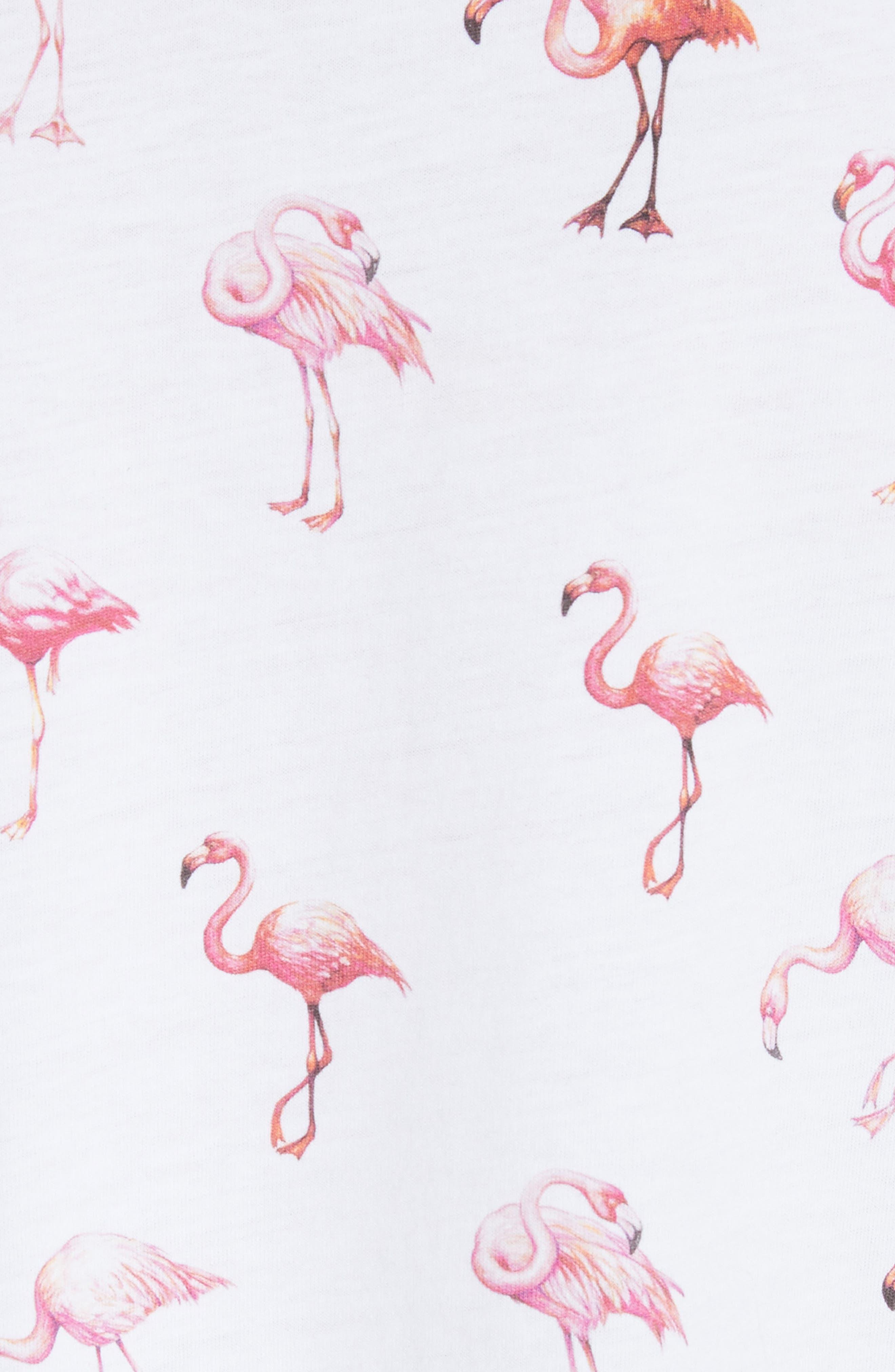 Puff Sleeve Flamingo Print Tee,                             Alternate thumbnail 5, color,                             White Flamingo