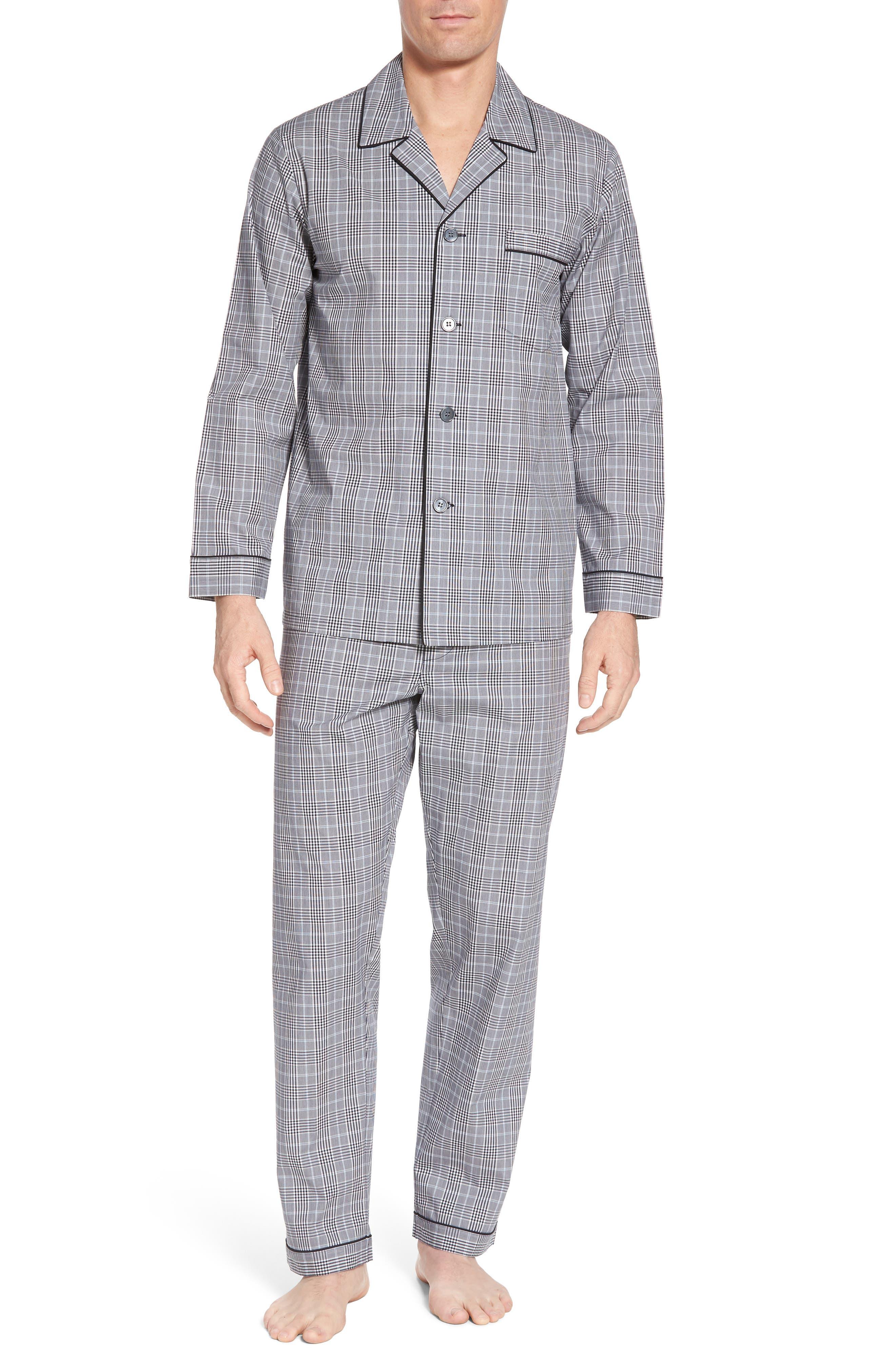 Charleston Pajama Set,                         Main,                         color, Black Plaid