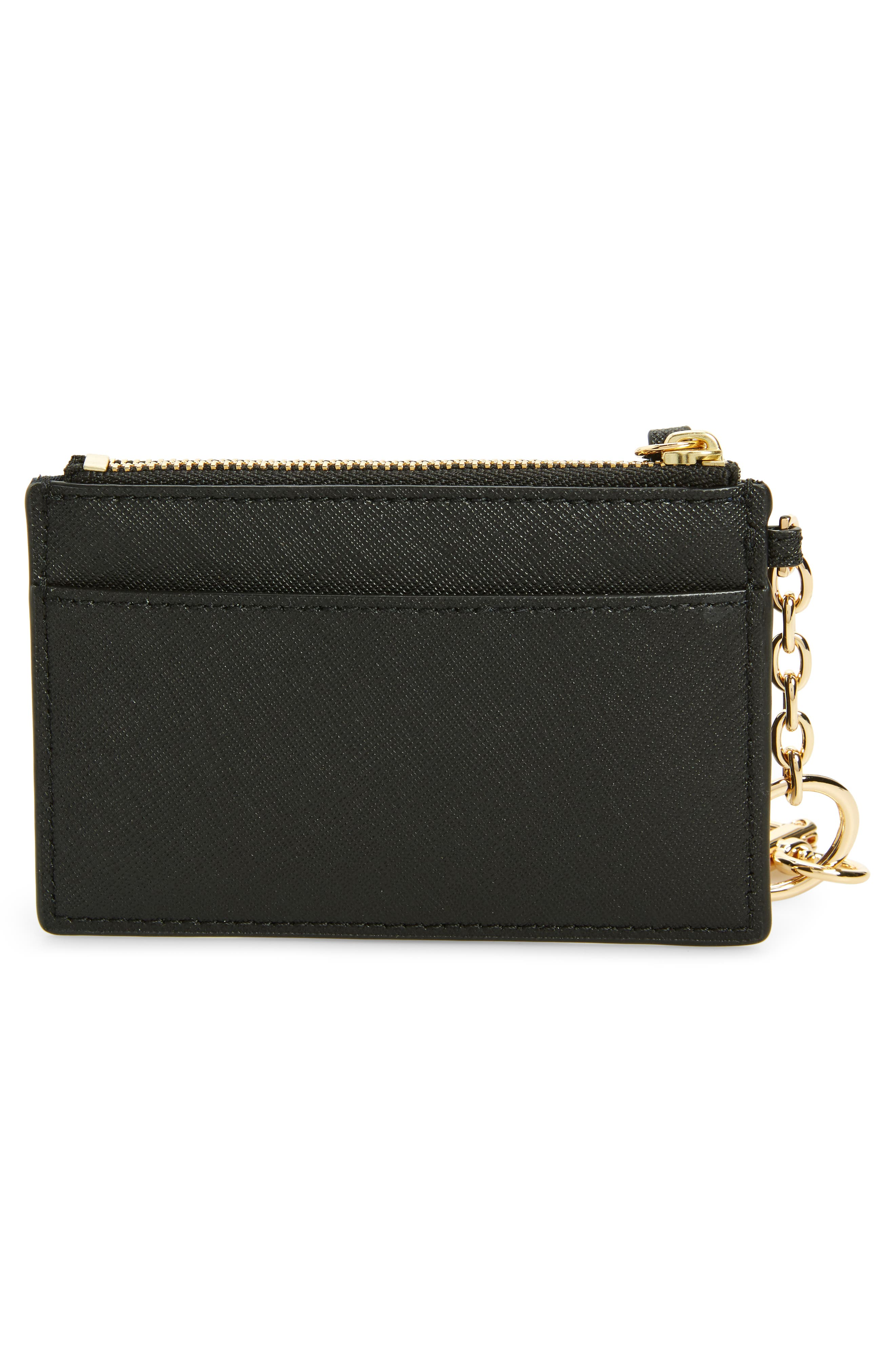 Robinson Leather Card Case with Key Chain,                             Alternate thumbnail 2, color,                             Black / Royal Navy