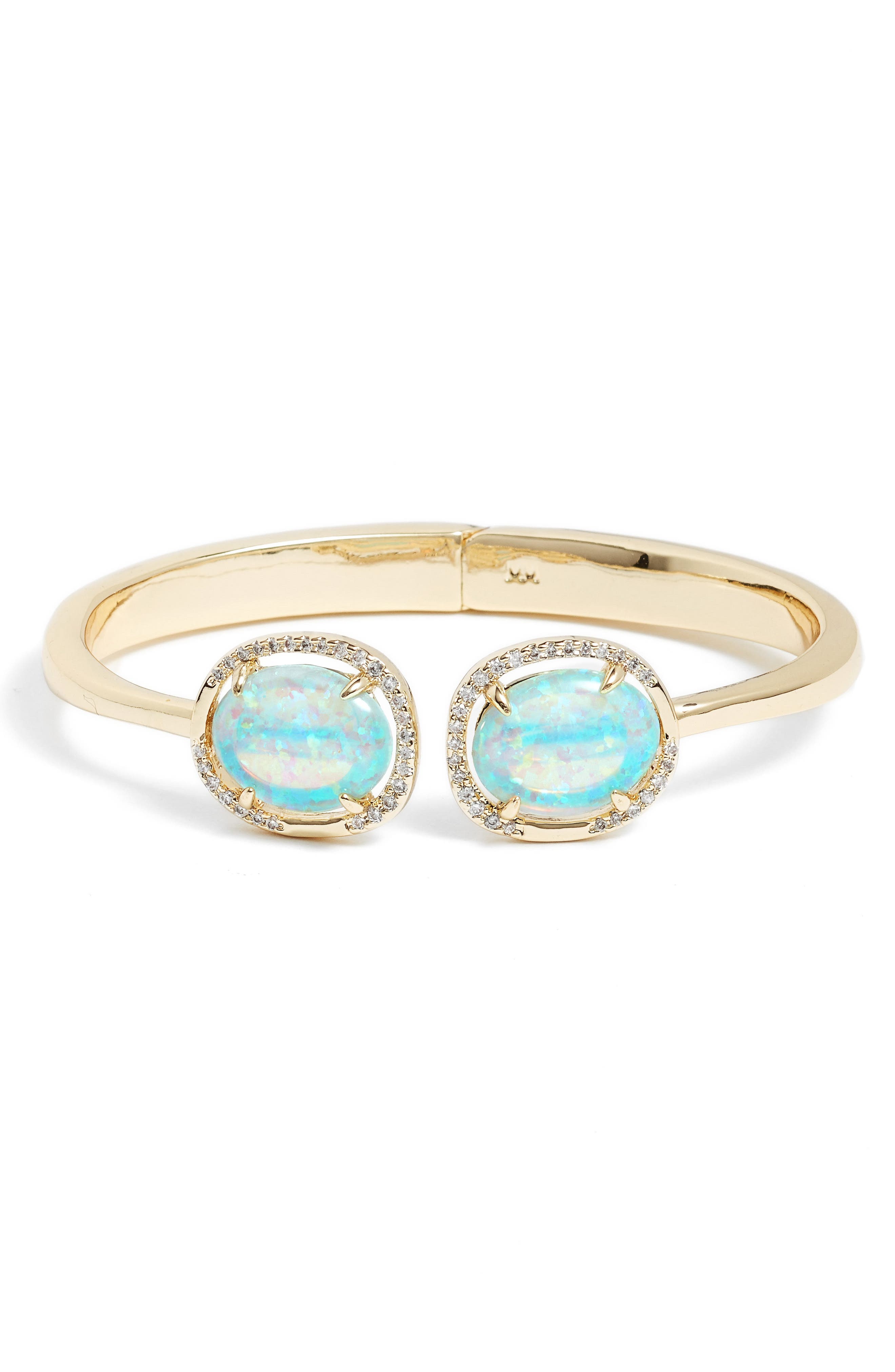 Arabella Opal Cuff Bracelet,                             Main thumbnail 1, color,                             Gold Opal/ White Crystal