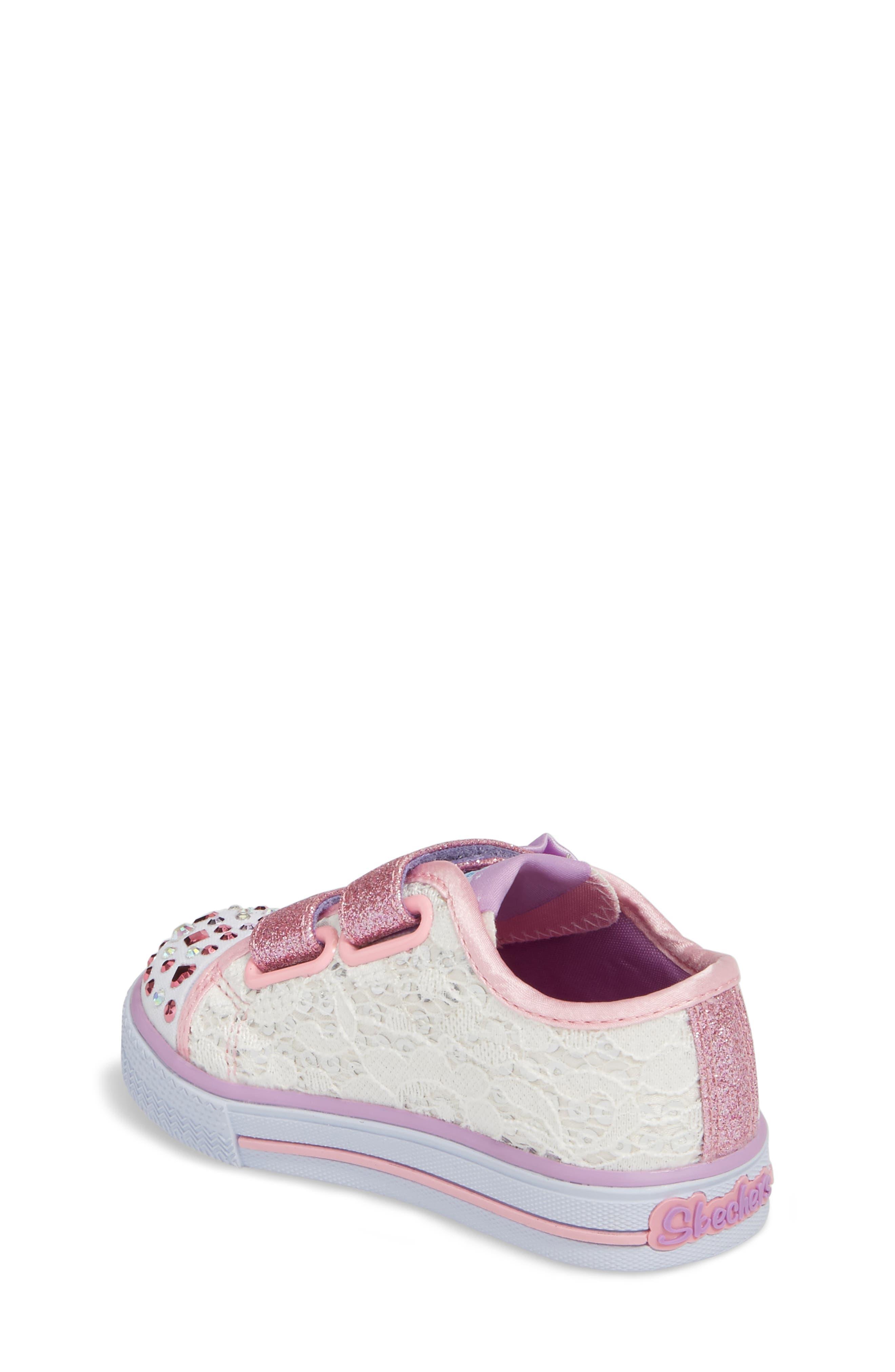 Twinkle Toes Shuffles Light-Up Glitter Sneaker,                             Alternate thumbnail 2, color,                             White/ Silver/ Light Pink
