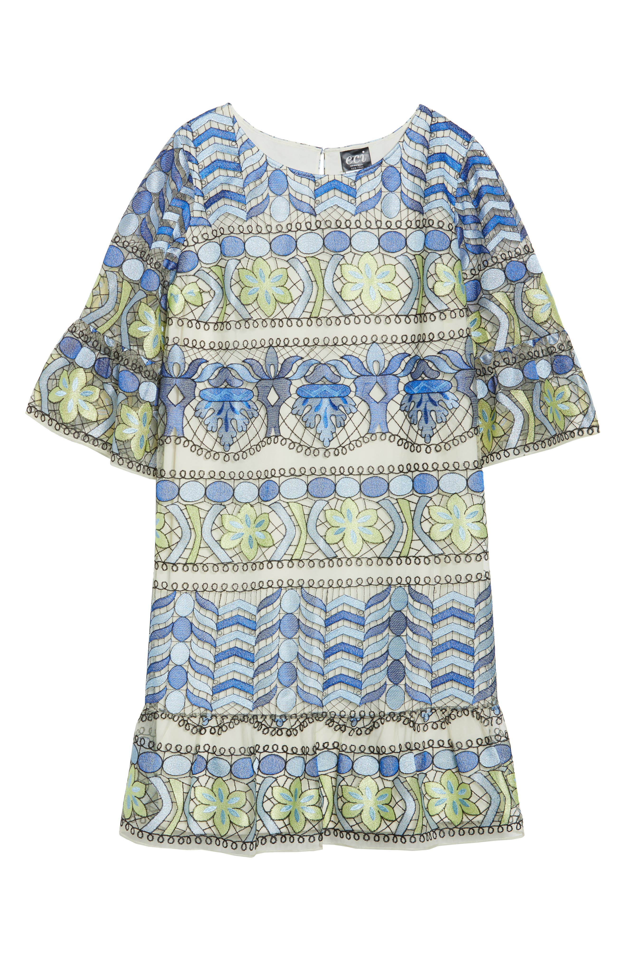 Emboidered Ruffle Sleeve Dress,                             Alternate thumbnail 6, color,                             Blue