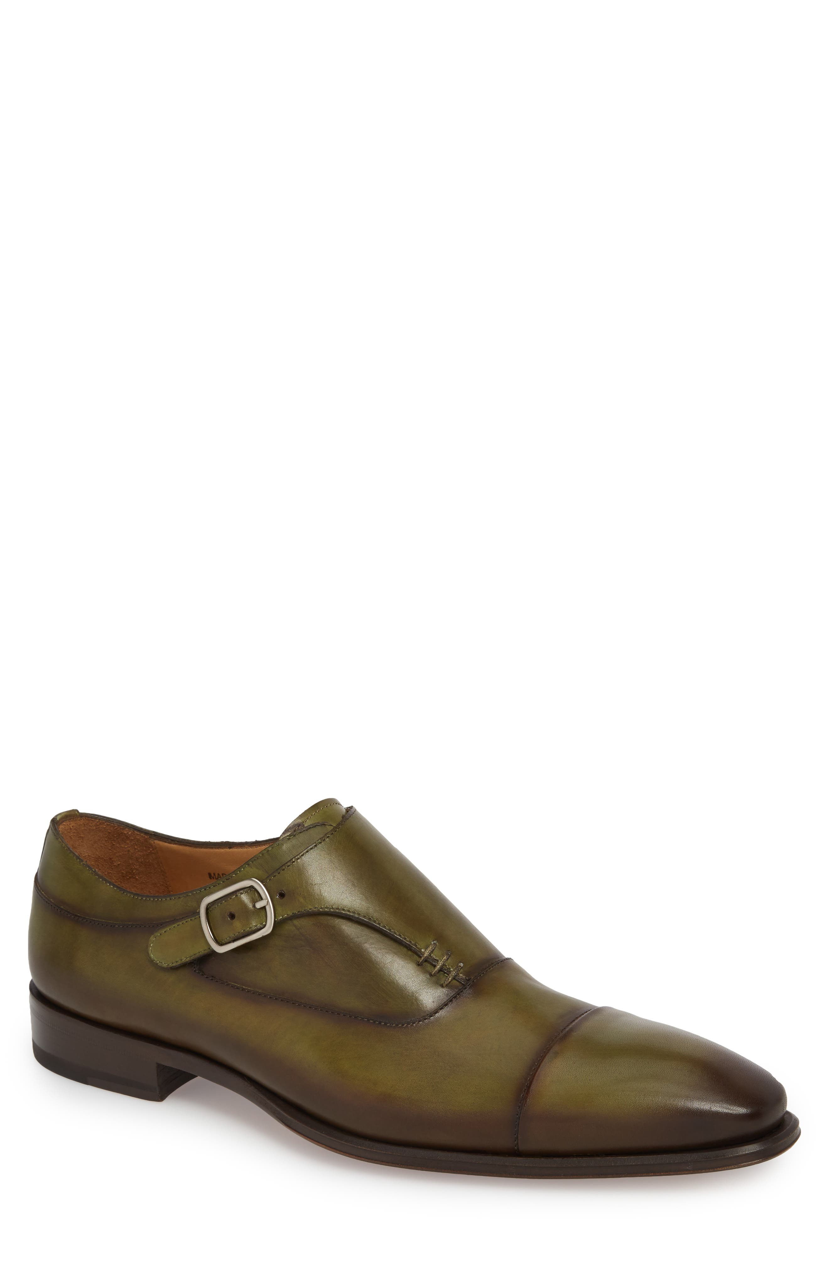 MEZLAN Cartago Monk Strap Cap Toe Oxford in Olive Leather