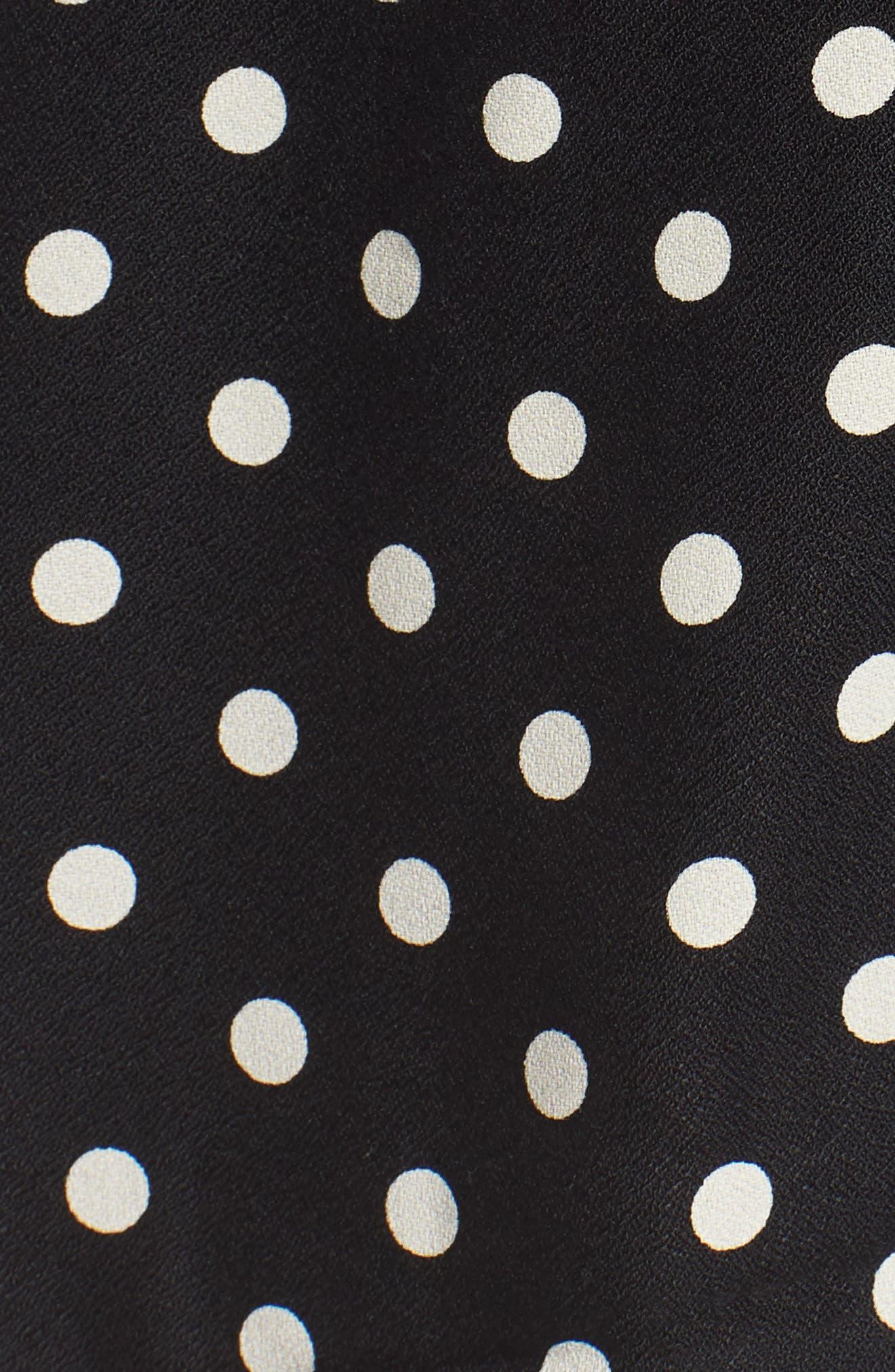 Elisha Maternity Shirtdress,                             Alternate thumbnail 5, color,                             Black/White Polka Crepe