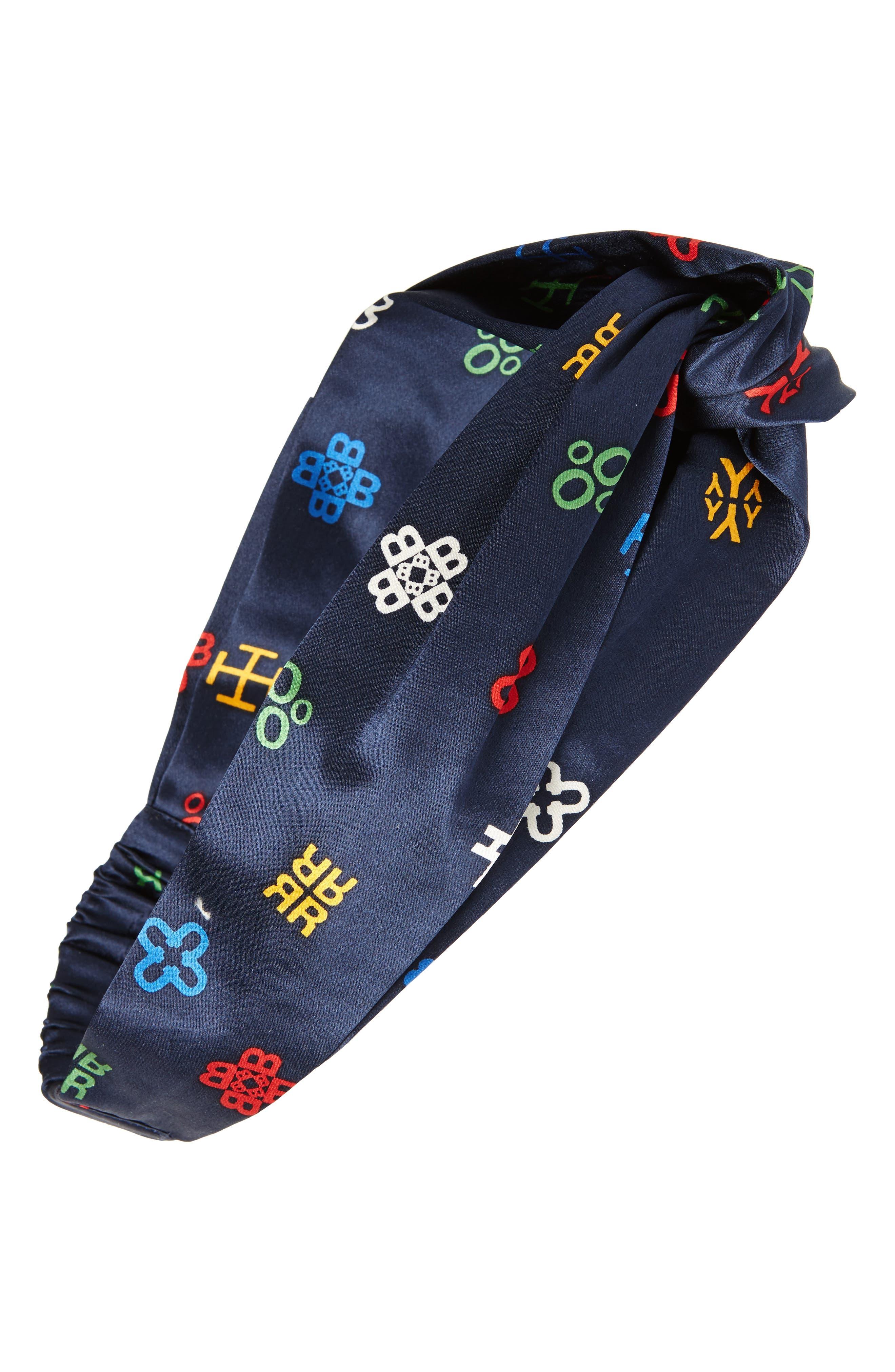 Tory Burch Alphabet Print Silk Headband