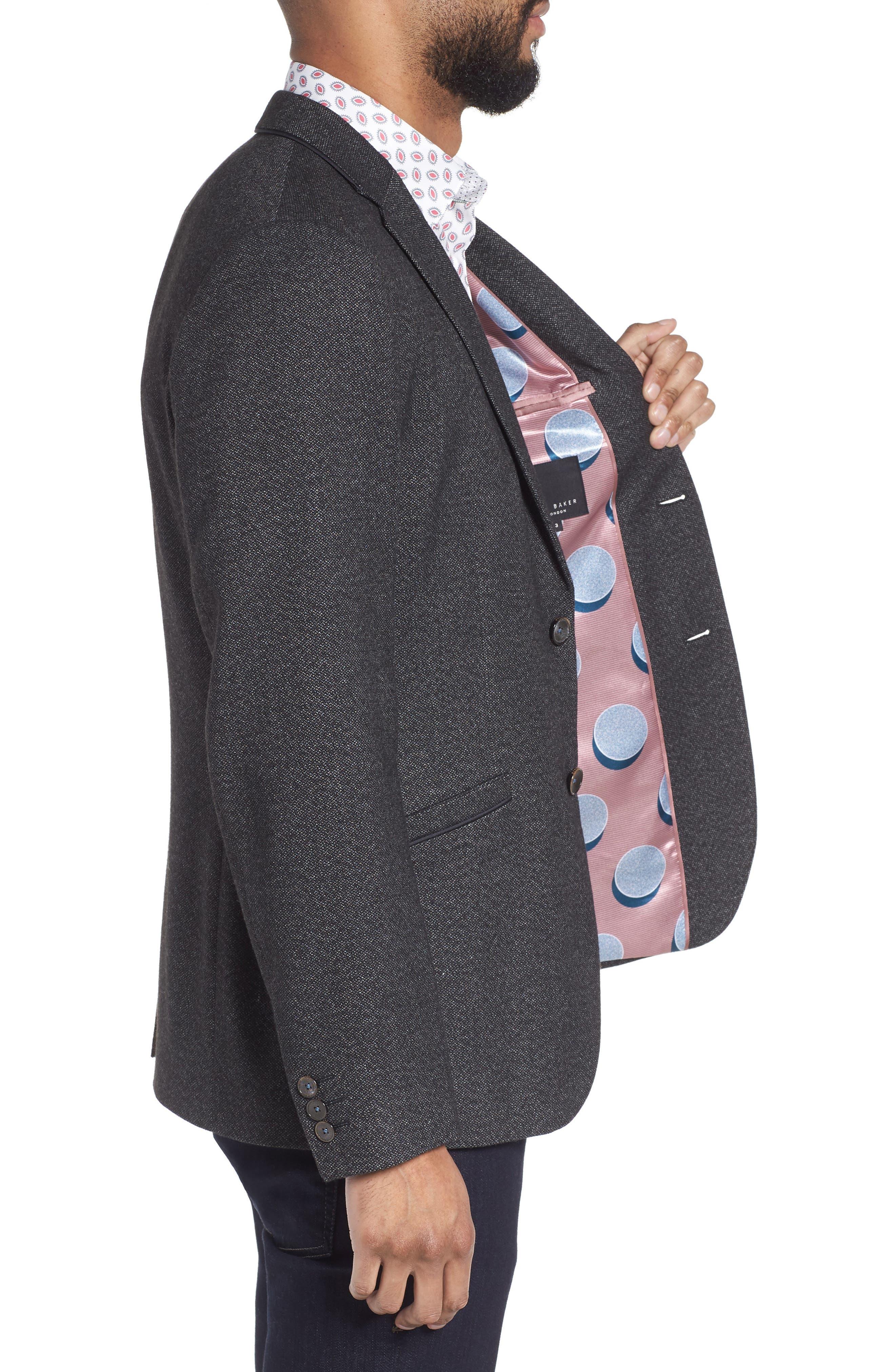 Beektt Semi Plain Trim Fit Jacket,                             Alternate thumbnail 3, color,                             Charcoal