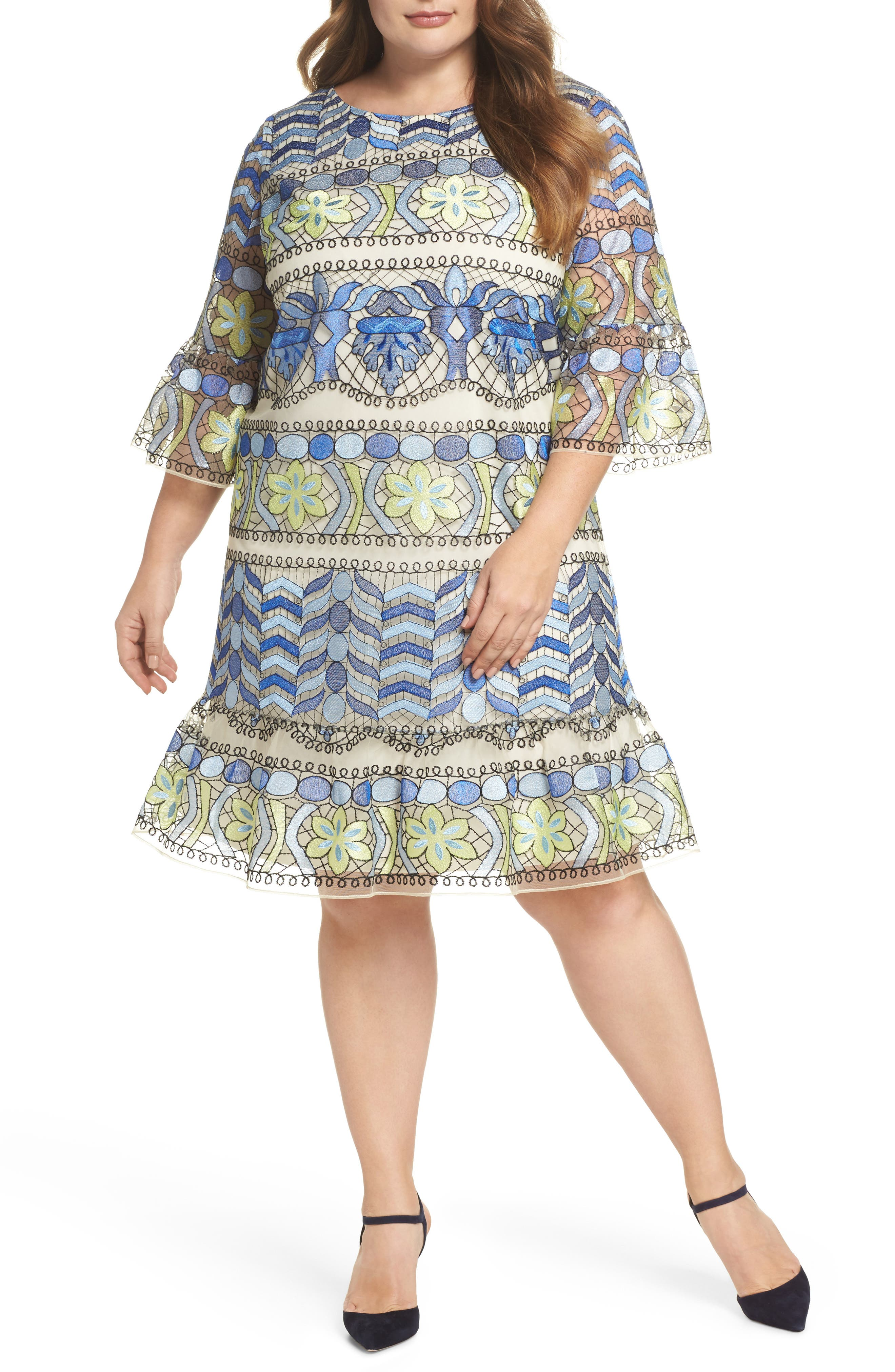 Emboidered Ruffle Sleeve Dress,                         Main,                         color, Blue