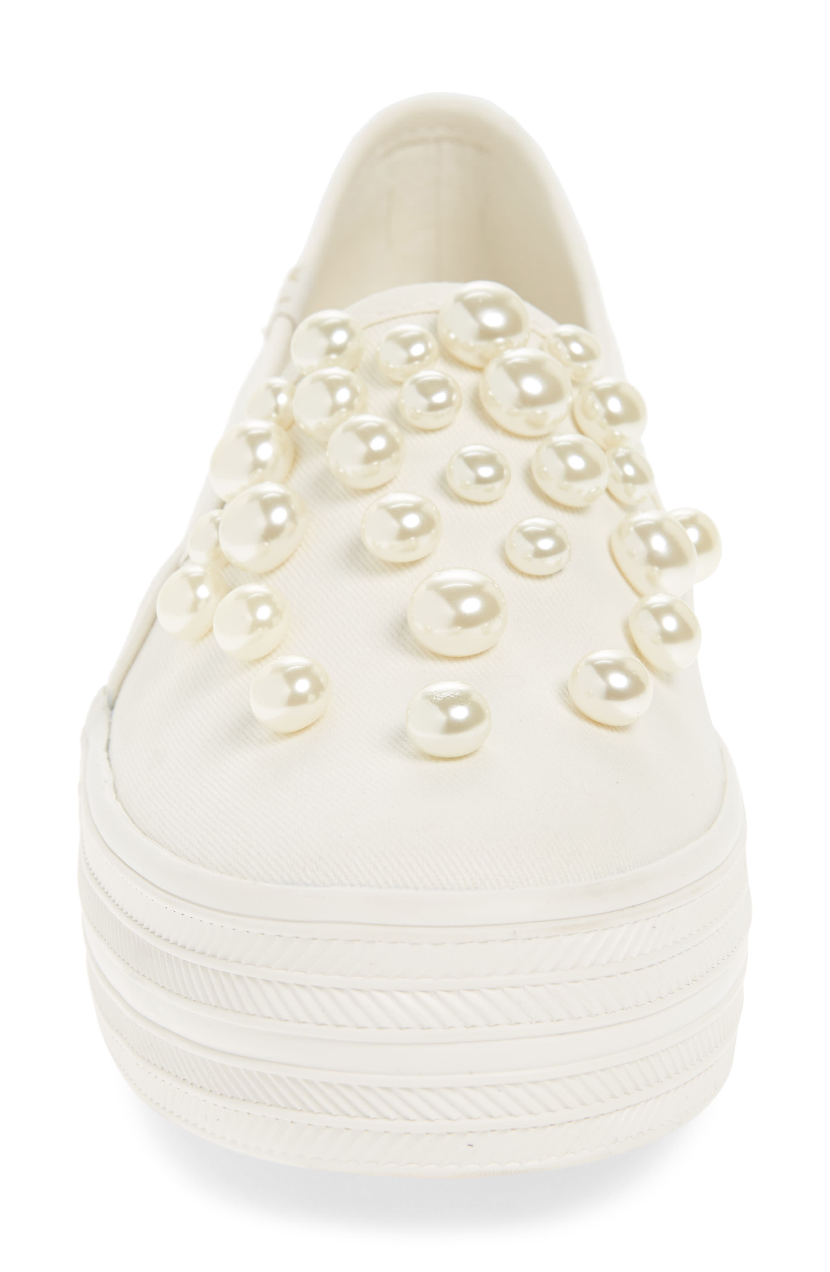 triple decker embellished slip-on sneaker,                             Alternate thumbnail 4, color,                             Cream