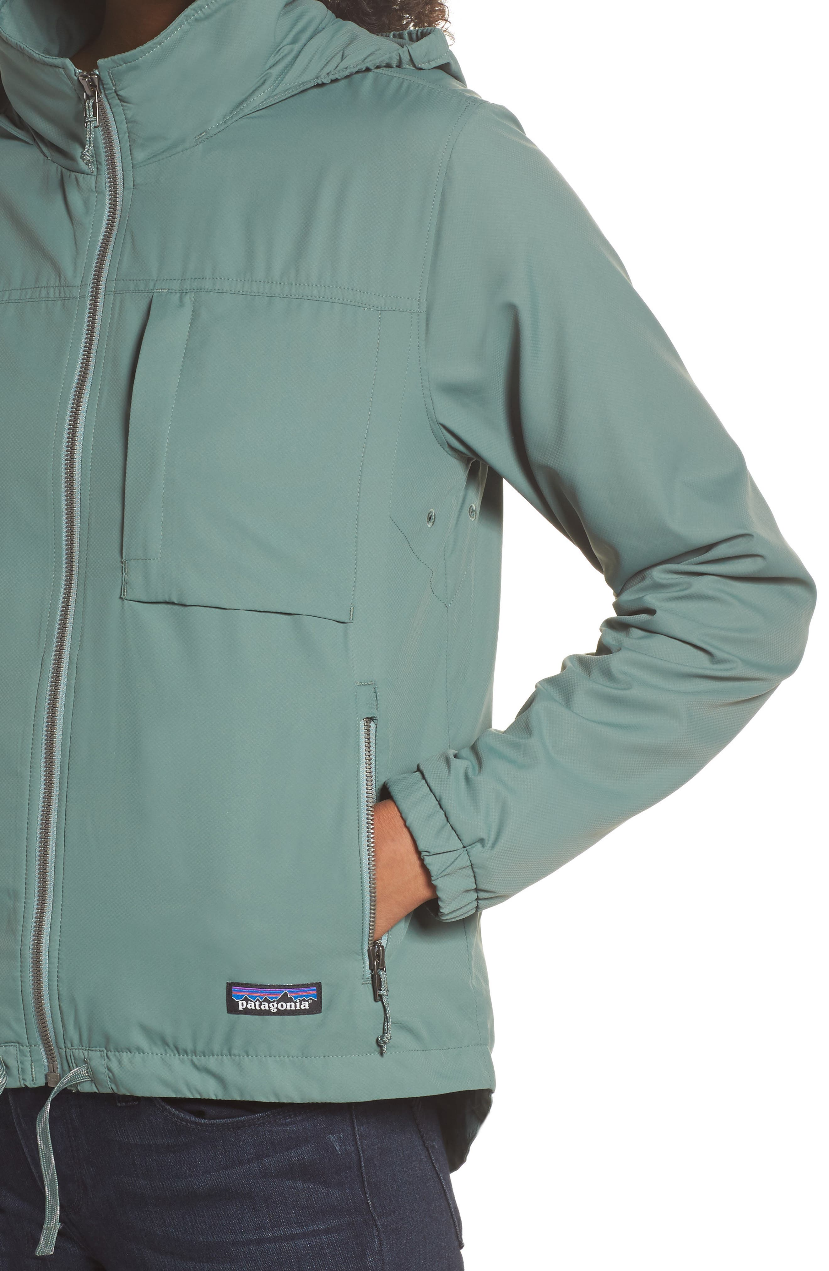 Mountain View Windbreaker Jacket,                             Alternate thumbnail 4, color,                             Pesto