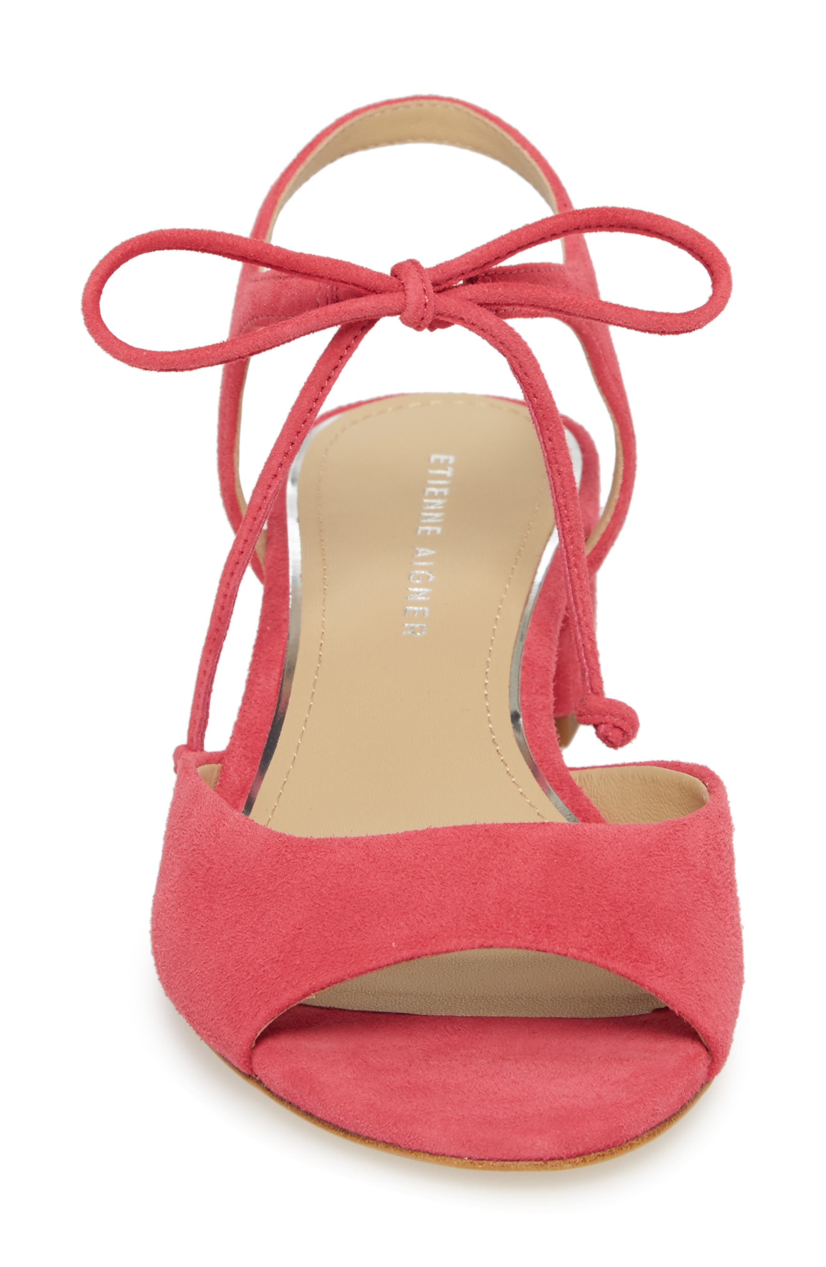 Belize Strappy Sandal,                             Alternate thumbnail 4, color,                             Peony Suede