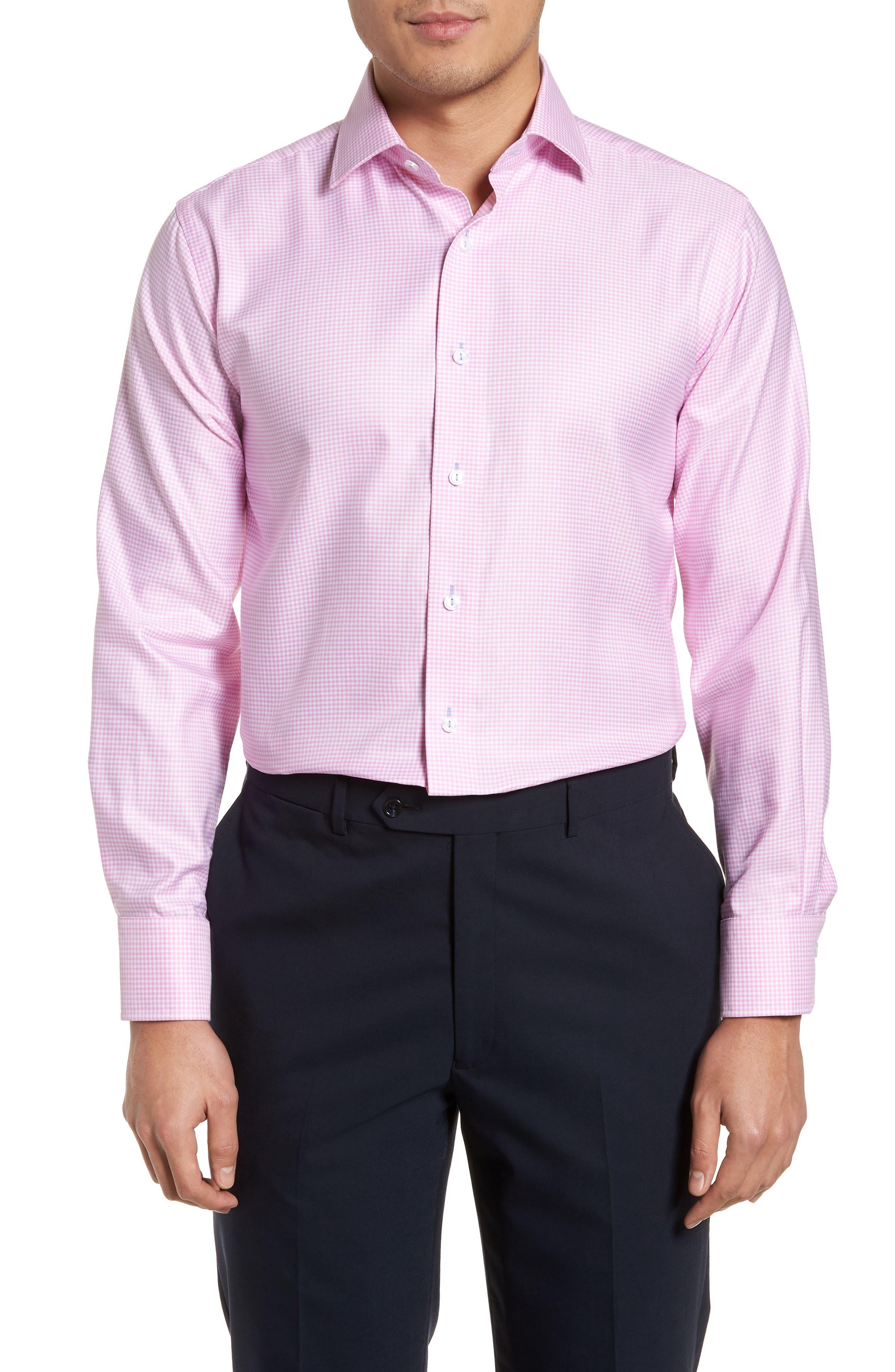 Trim Fit Textured Gingham Dress Shirt,                             Main thumbnail 1, color,                             Pink