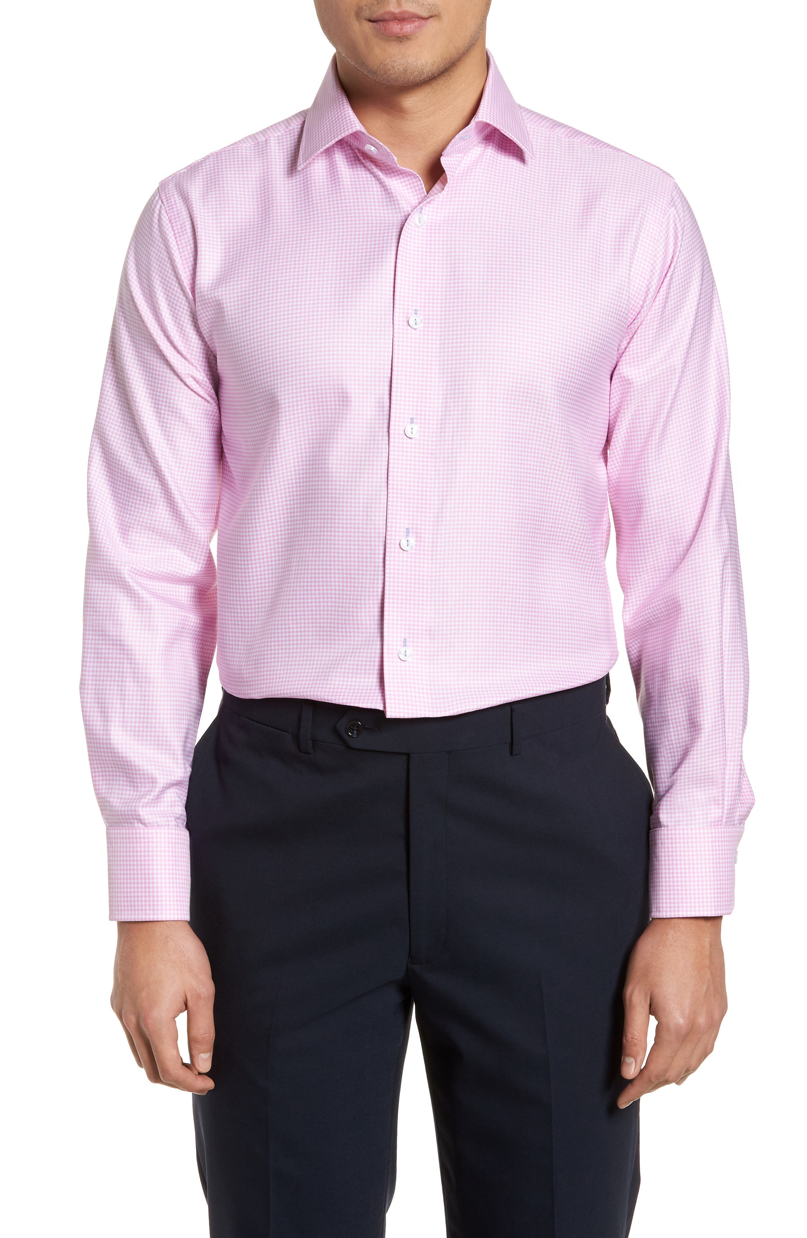 Trim Fit Textured Gingham Dress Shirt,                         Main,                         color, Pink