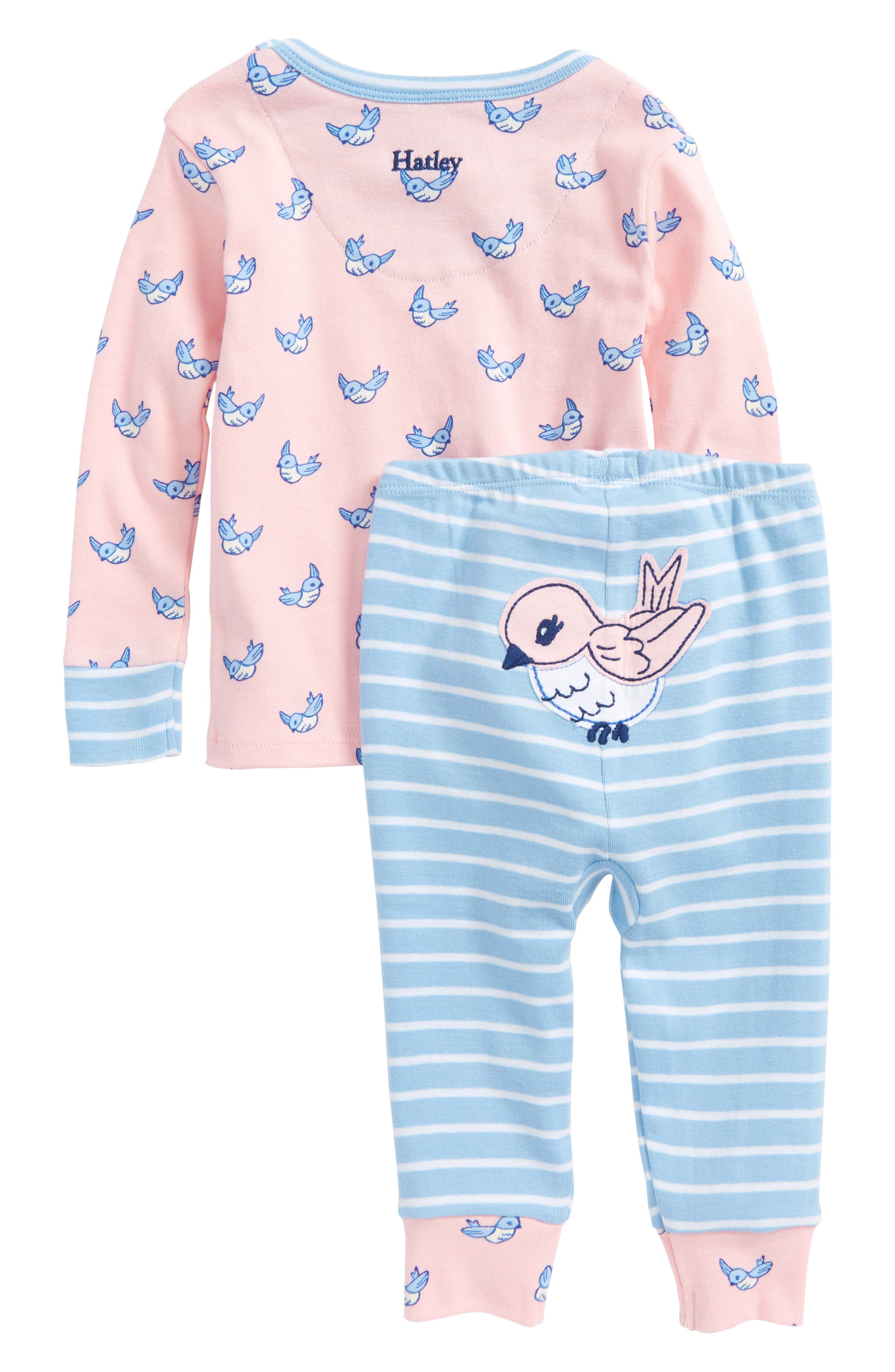 Fluttering Birds Organic Cotton Fitted Two-Piece Pajamas,                             Main thumbnail 1, color,                             Fluttering Birds