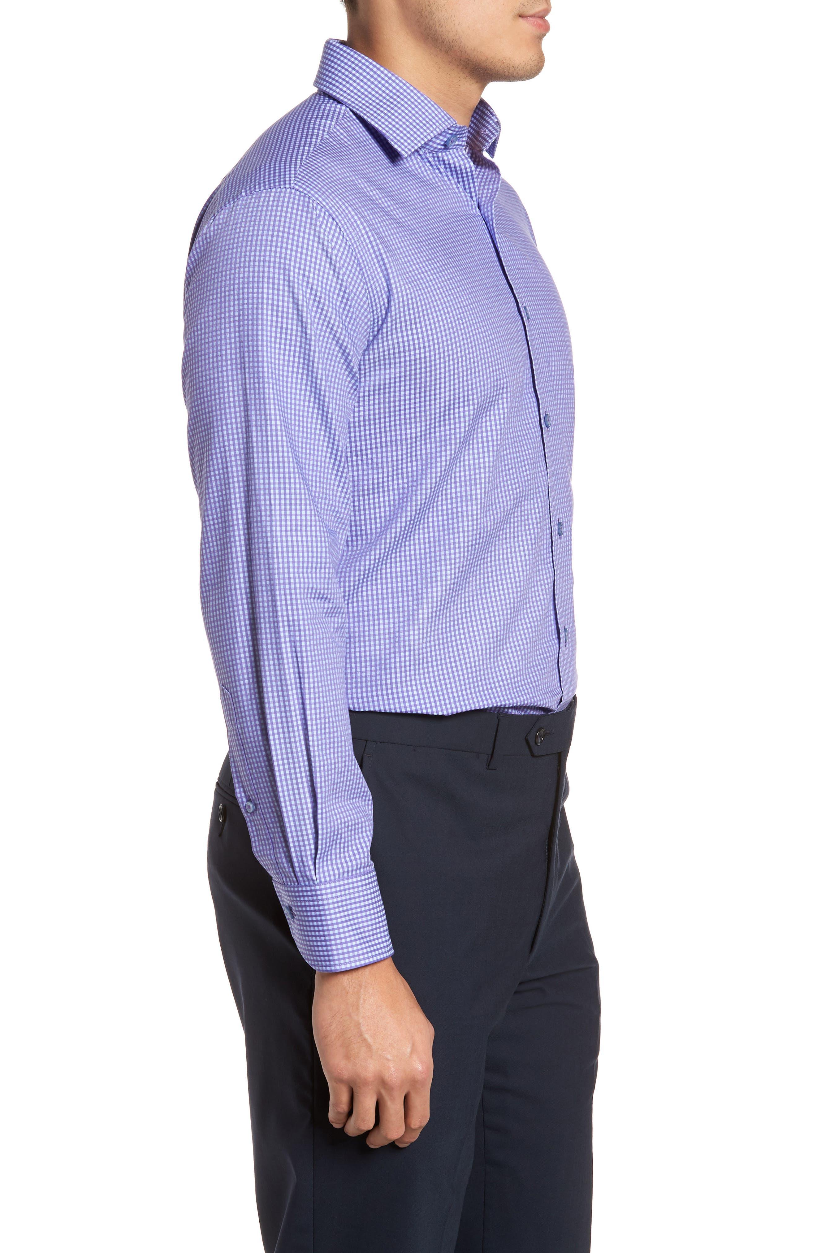 Trim Fit Mini Check Dress Shirt,                             Alternate thumbnail 4, color,                             Purple