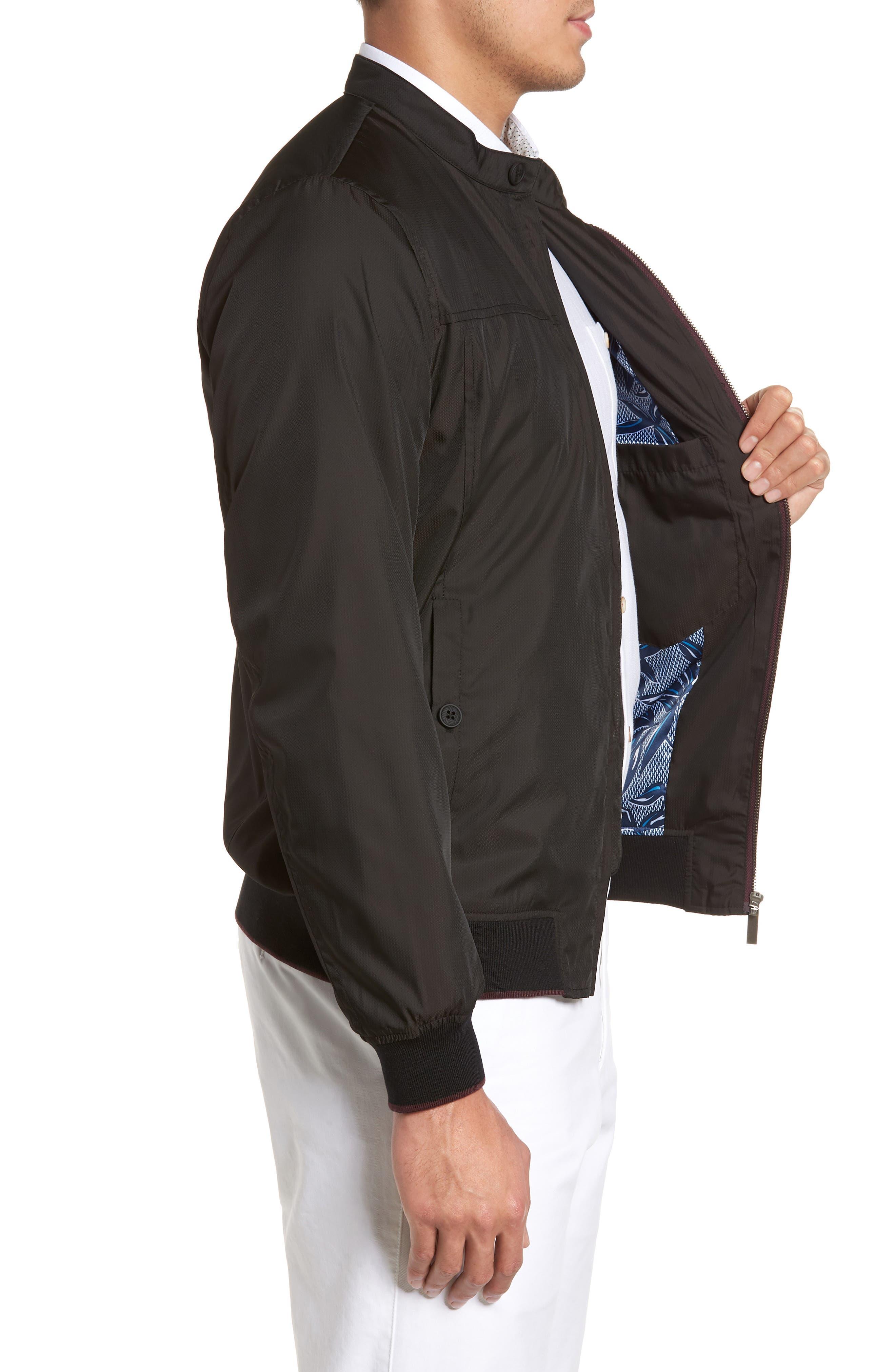 Calgar Nylon Bomber Jacket,                             Alternate thumbnail 3, color,                             Black