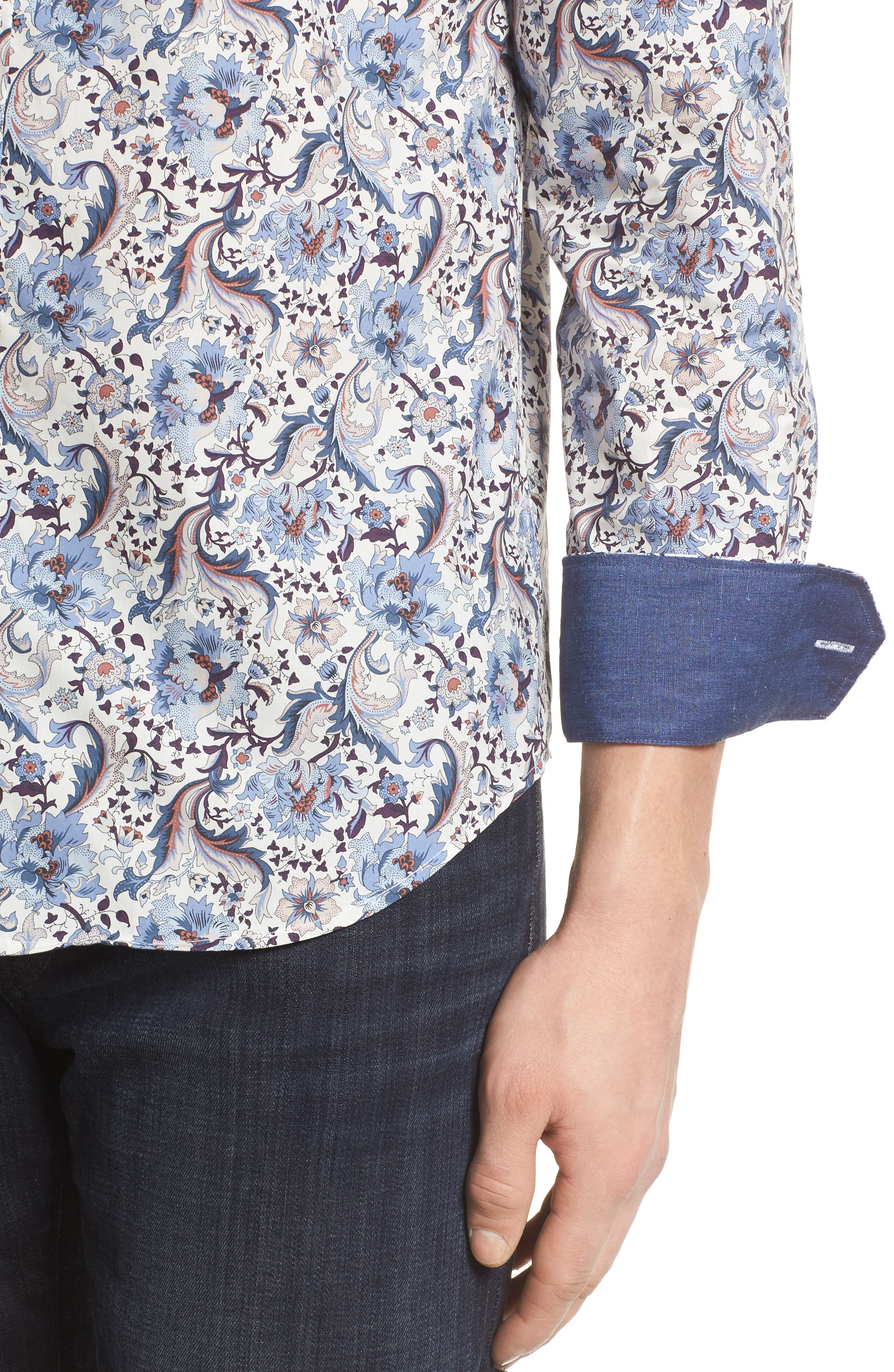 Shaped Fit Floral Sport Shirt,                             Alternate thumbnail 4, color,                             Chalk