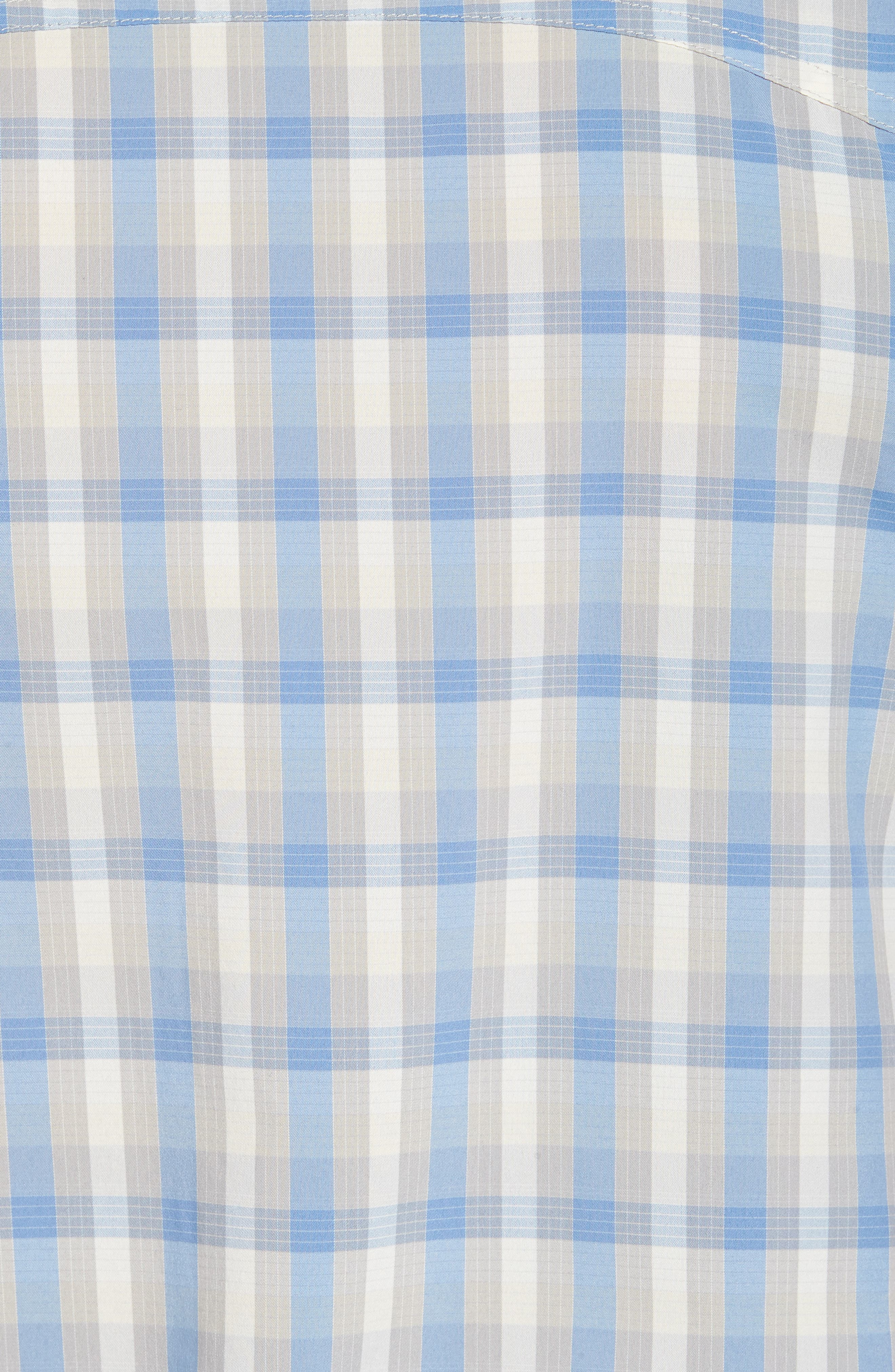 M's Sun Plaid Stretch Hybrid Shirt,                             Alternate thumbnail 5, color,                             Mauro Railroad Blue