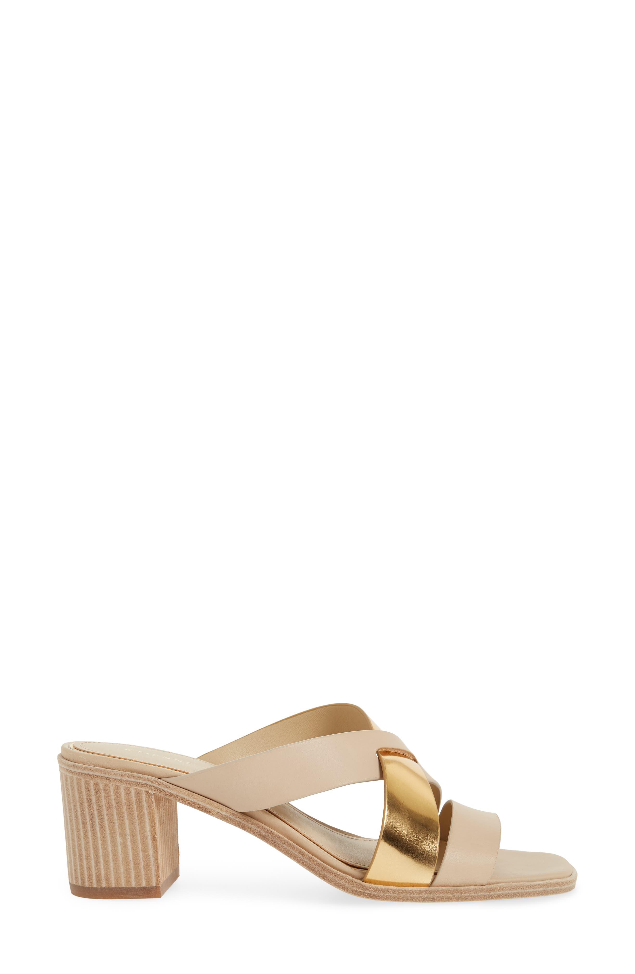 Negroni Cross Strap Mule Sandal,                             Alternate thumbnail 3, color,                             Natural/ Gold Leather