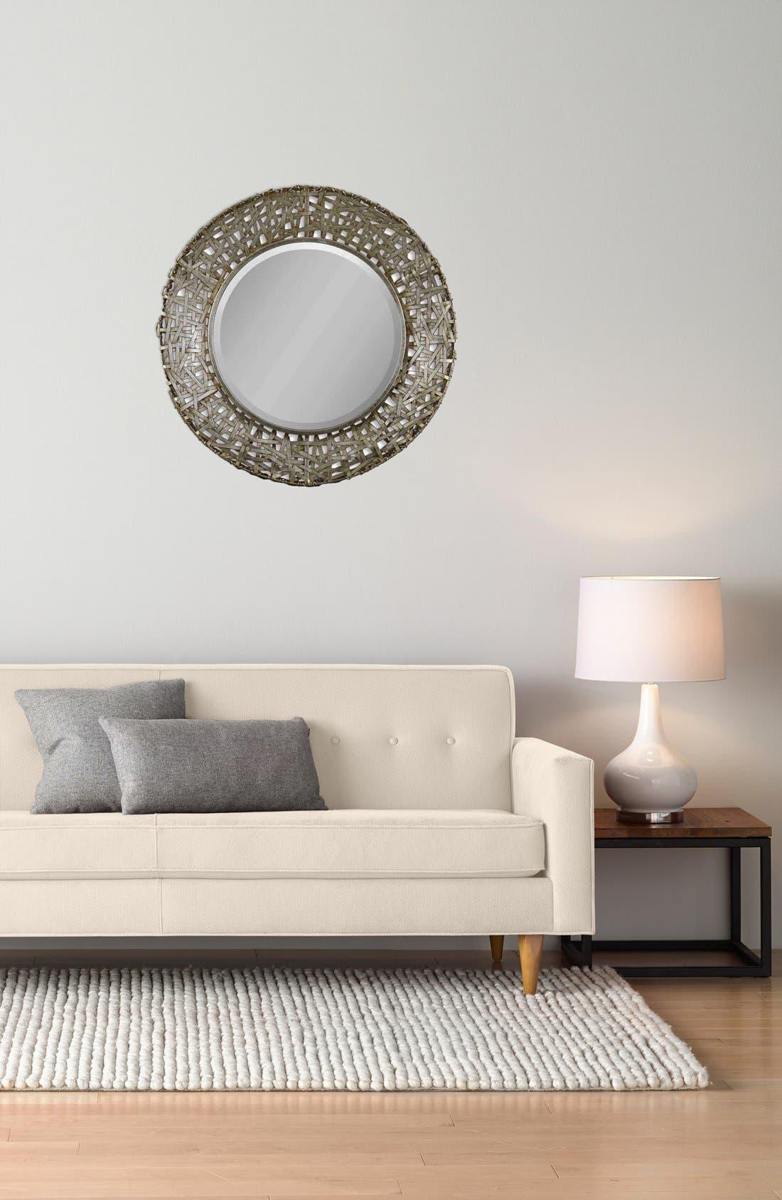 'Alita' Woven Metallic Frame Mirror,                             Alternate thumbnail 2, color,                             Silver