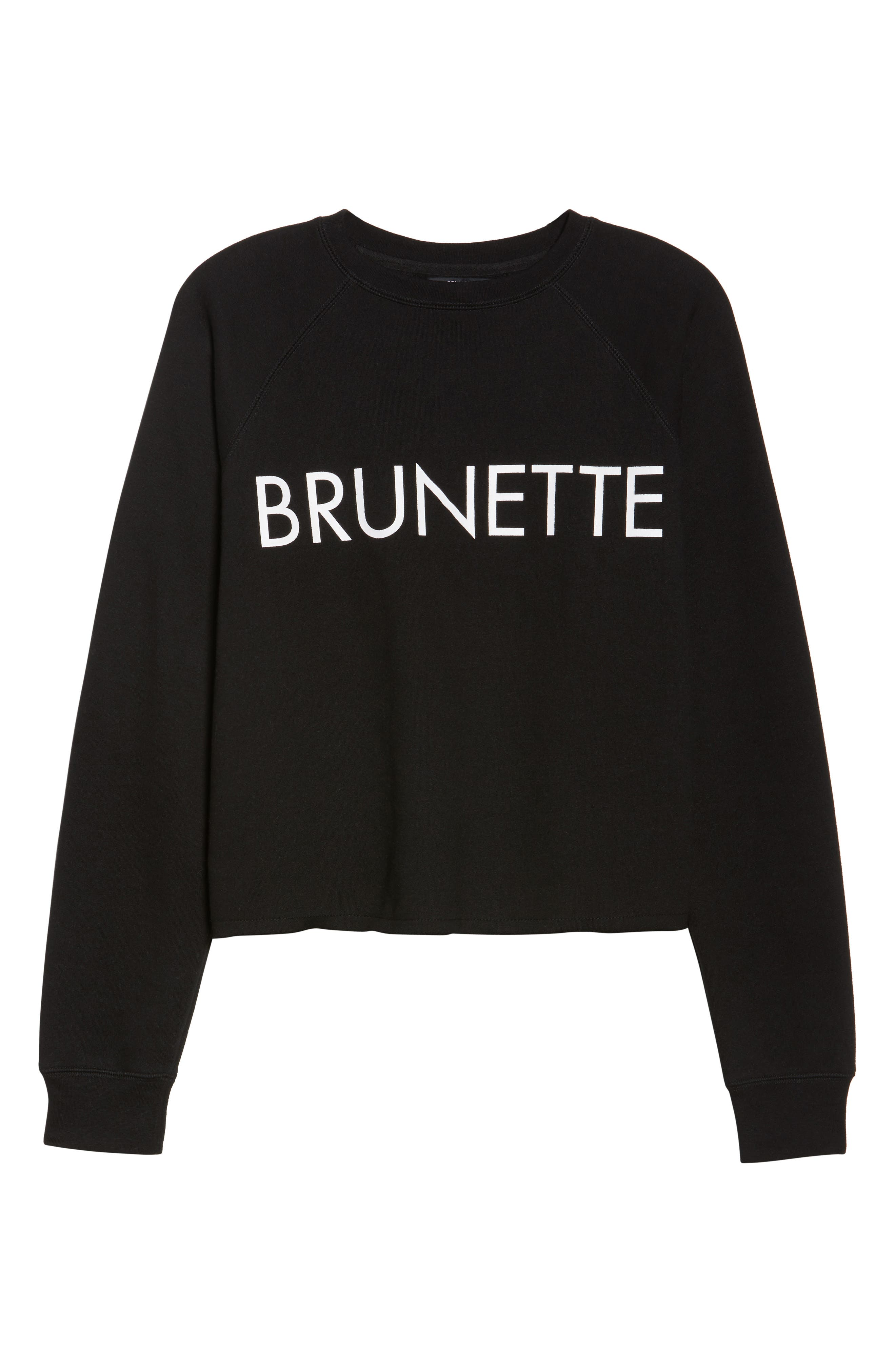Brunette Raw Hem Sweatshirt,                             Alternate thumbnail 4, color,                             Black