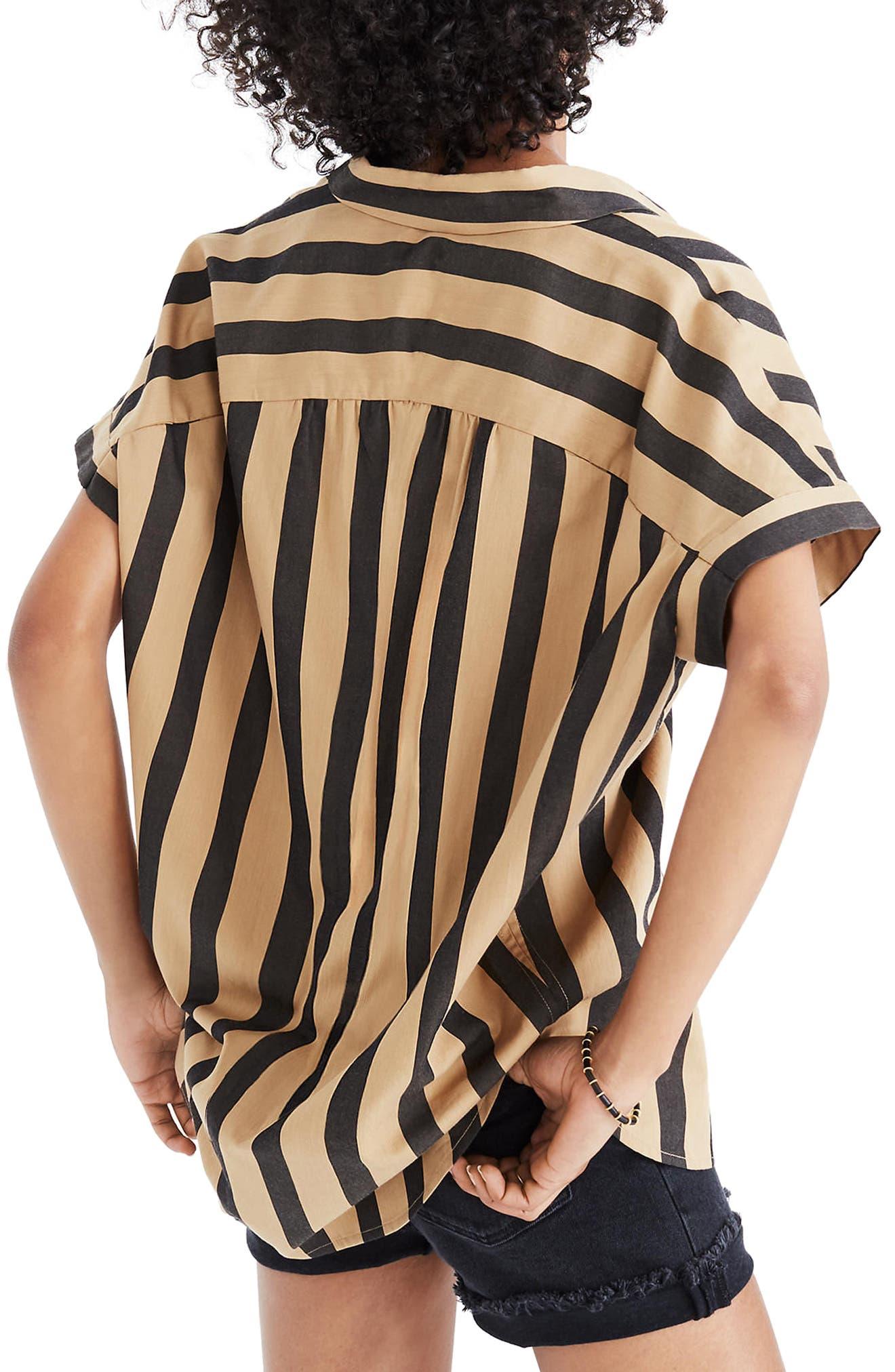 Central Edna Stripe Shirt,                             Alternate thumbnail 2, color,                             Truffle