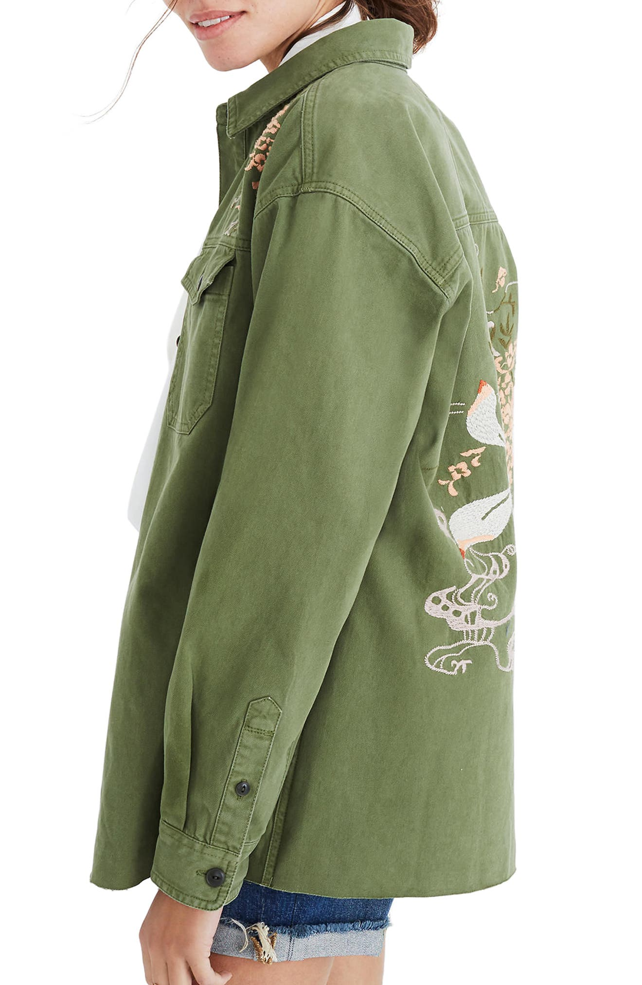 Rabbit Embroidered Shirt Jacket,                             Alternate thumbnail 3, color,                             Palm Tree