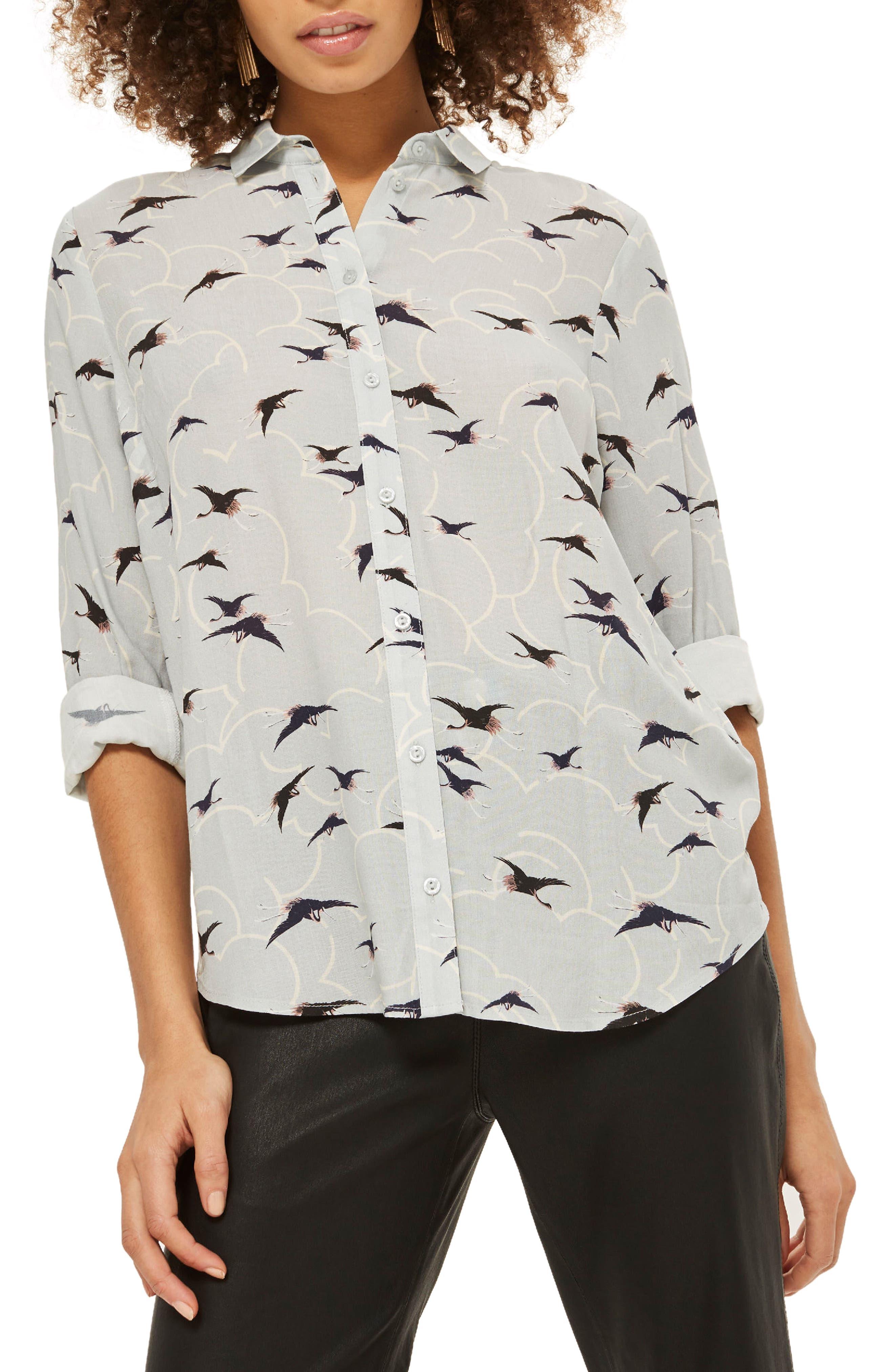 Topshop Birds & Clouds Button Down Shirt