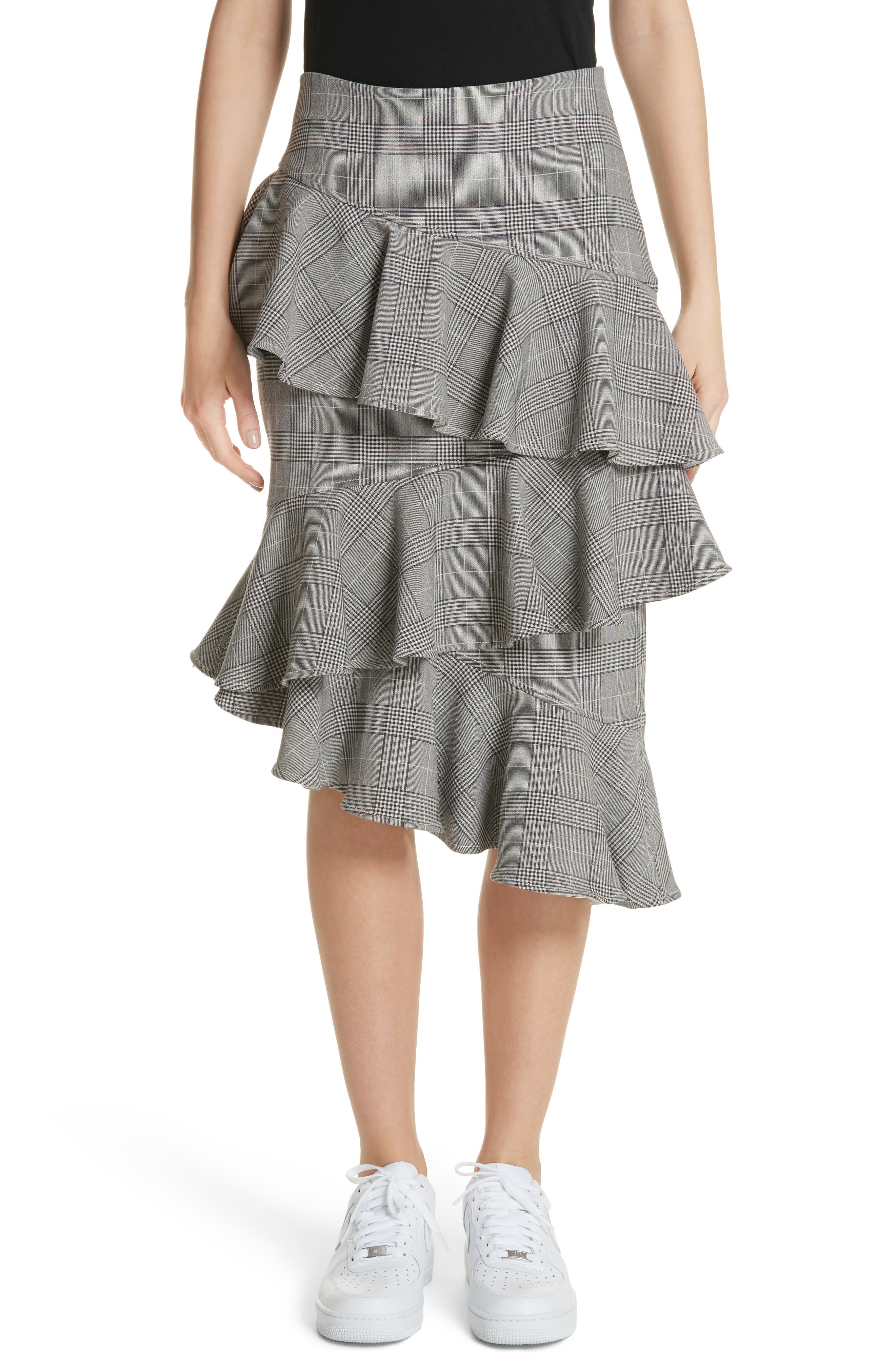 Garvey Plaid Ruffle Tier Skirt,                             Main thumbnail 1, color,                             Paloma Melange