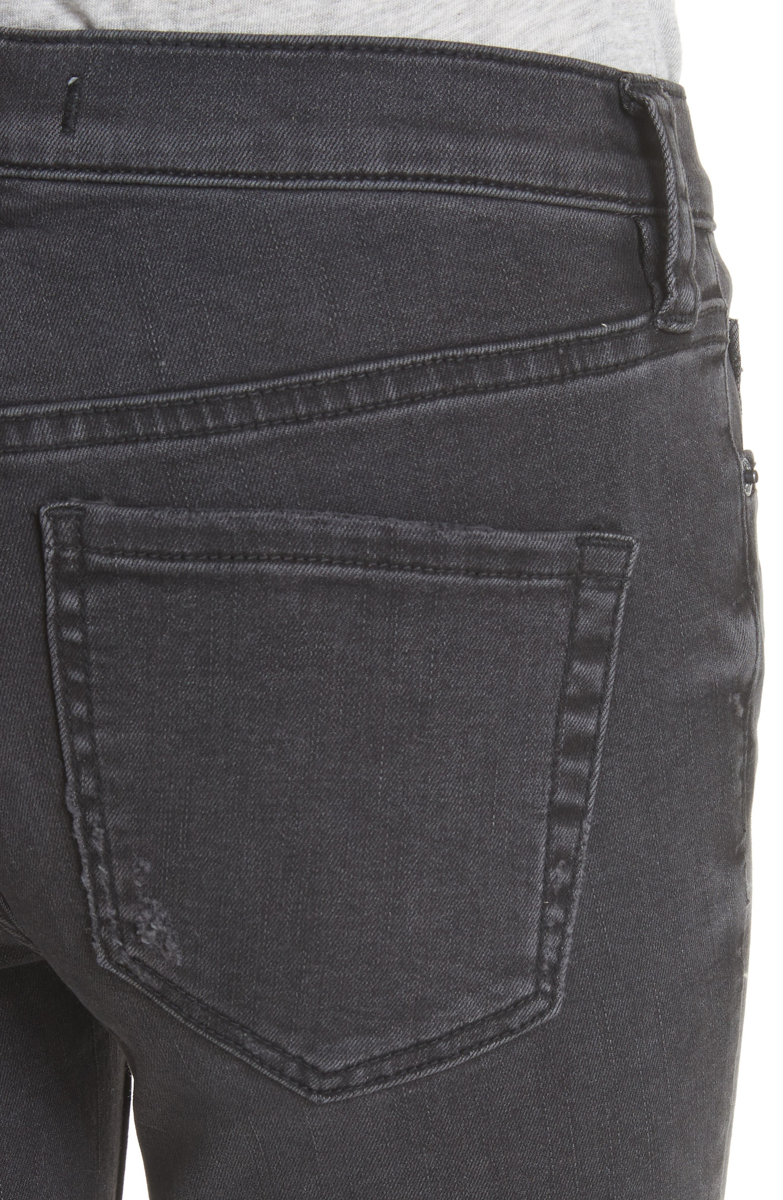 Great Heights Frayed Skinny Jeans,                             Alternate thumbnail 4, color,                             Black