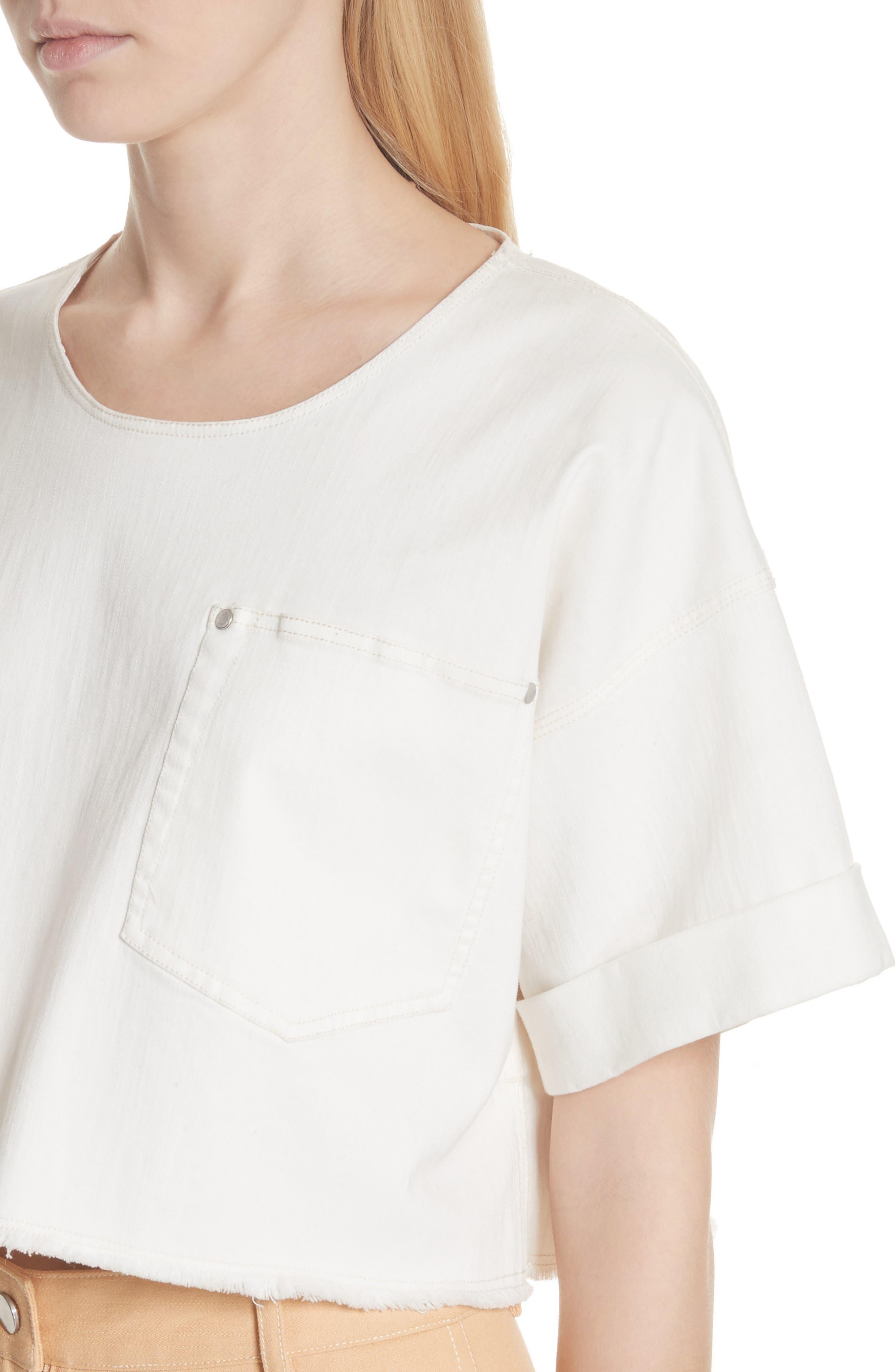 Tinsley Denim Crop Top,                             Alternate thumbnail 4, color,                             White