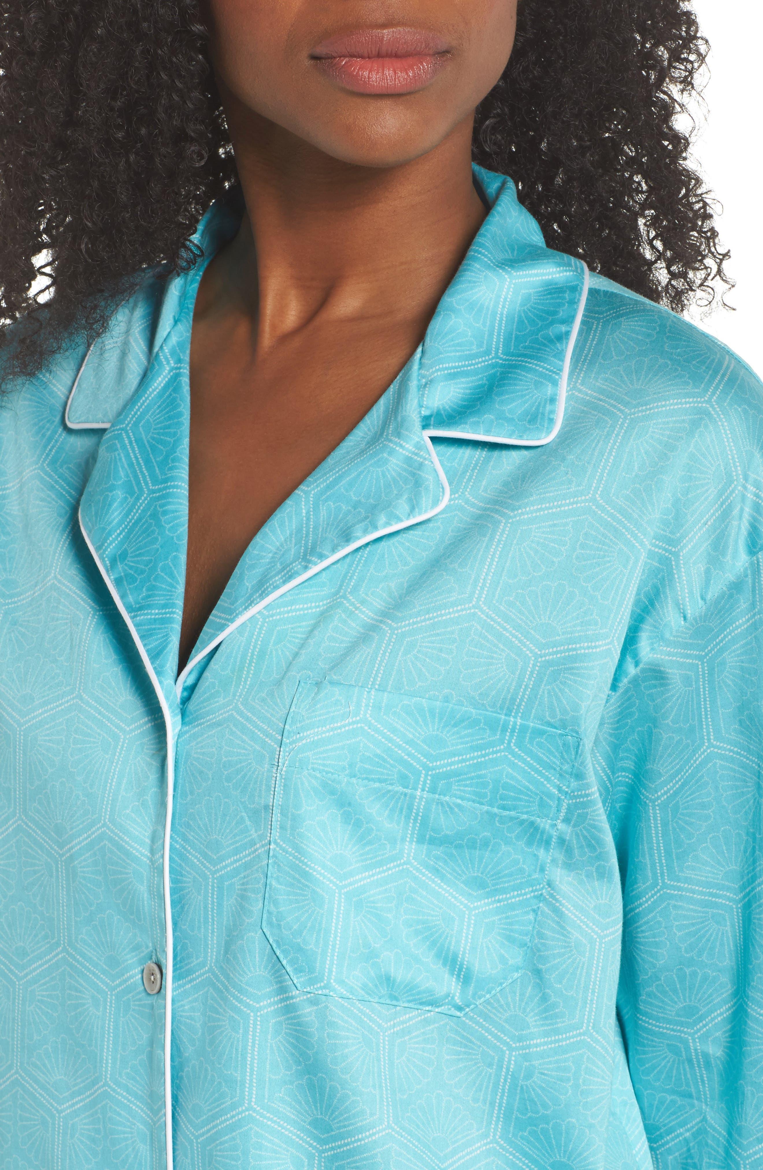 Fan Print Cotton Pajamas,                             Alternate thumbnail 5, color,                             Sea Glass