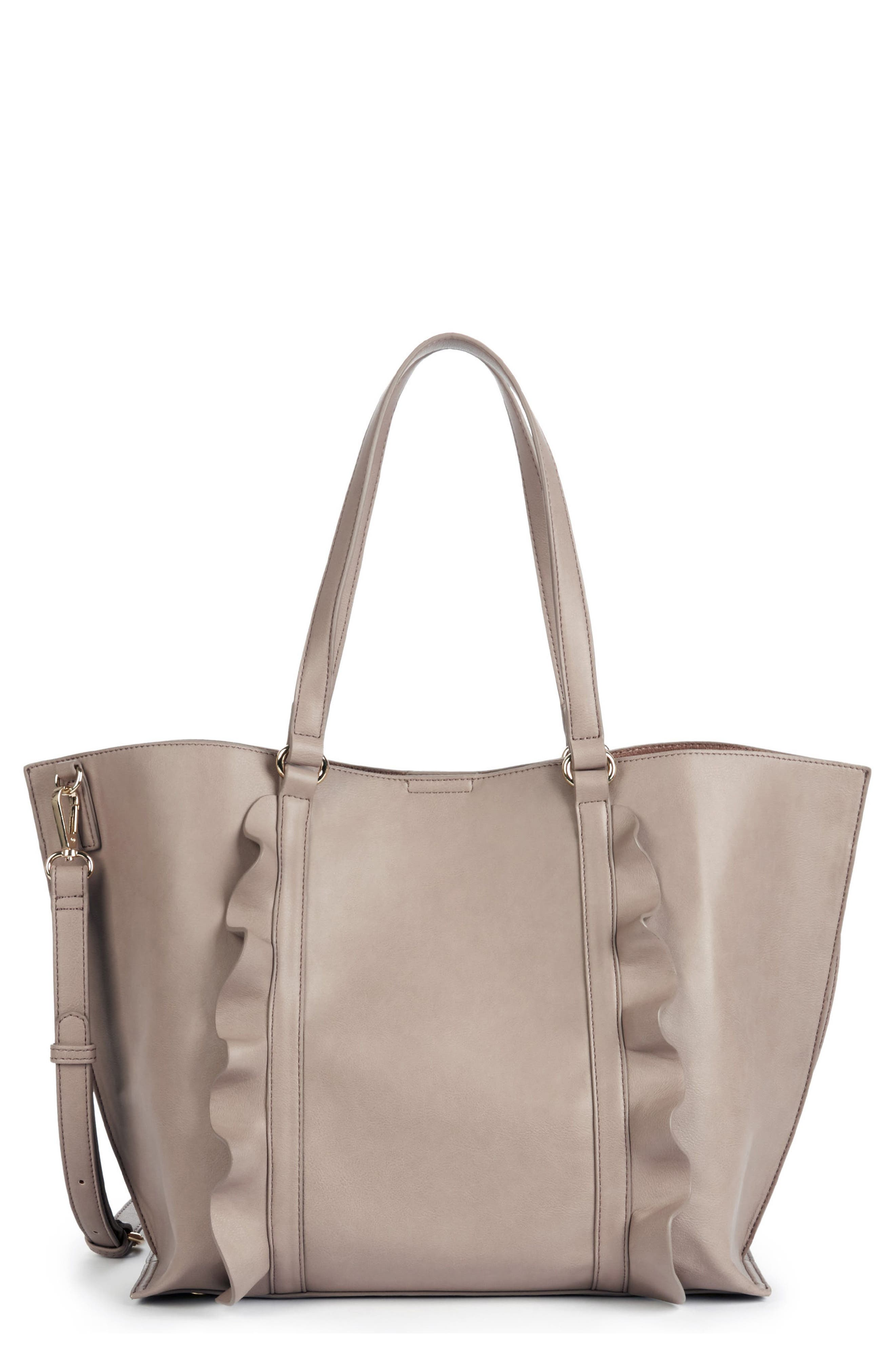 Adelina Ruffled Faux Leather Tote,                             Main thumbnail 1, color,                             Taupe